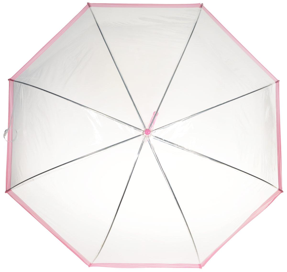 Зонт-трость женский Эврика, механика, цвет: прозрачный, розовый. 9607596075Оригинальный и элегантный женский зонт-трость Эврика порадует своим оформлением даже в ненастную погоду. Зонт состоит из восьми спиц и стержня выполненных из качественного металла. Купол выполнен из качественного ПВХ, который не пропускает воду. Зонт дополнен удобной пластиковой ручкой в виде крючка. Изделие имеет механический способ сложения: и купол, и стержень открываются и закрываются вручную до характерного щелчка. Зонт закрывается хлястиком на кнопку. Зонт имеет прозрачную текстуру, что позволяет видеть обстановку вокруг себя. Такой зонт не оставит вас незамеченной.