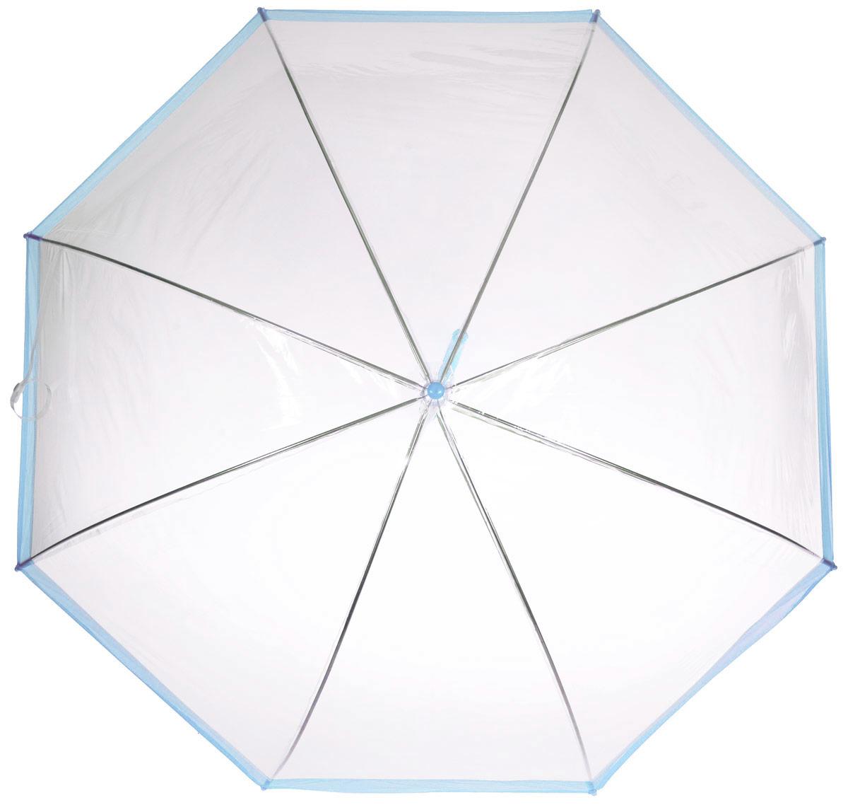 Зонт-трость женский Эврика, механика, цвет: прозрачный, голубой. 9429294292Оригинальный и элегантный женский зонт-трость Эврика порадует своим оформлением даже в ненастную погоду. Зонт состоит из восьми спиц и стержня выполненных из качественного металла. Купол выполнен из качественного ПВХ, который не пропускает воду. Зонт дополнен удобной пластиковой ручкой в виде крючка. Изделие имеет механический способ сложения: и купол, и стержень открываются и закрываются вручную до характерного щелчка. Зонт закрывается хлястиком на кнопку. Зонт имеет прозрачную текстуру, что позволяет видеть обстановку вокруг себя. Такой зонт не оставит вас незамеченной.