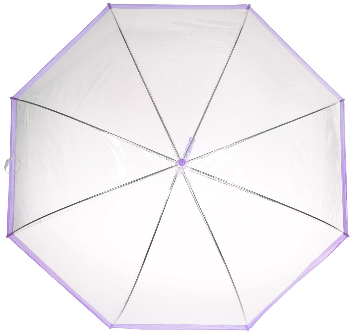 Зонт-трость женский Эврика, механика, цвет: прозрачный, сиреневый. 9486494864Оригинальный и элегантный женский зонт-трость Эврика порадует своим оформлением даже в ненастную погоду. Зонт состоит из восьми спиц и стержня выполненных из качественного металла. Купол выполнен из качественного ПВХ, который не пропускает воду. Зонт дополнен удобной пластиковой ручкой в виде крючка. Изделие имеет механический способ сложения: и купол, и стержень открываются и закрываются вручную до характерного щелчка. Зонт закрывается хлястиком на кнопку. Зонт имеет прозрачную текстуру, что позволяет видеть обстановку вокруг себя. Такой зонт не оставит вас незамеченной.