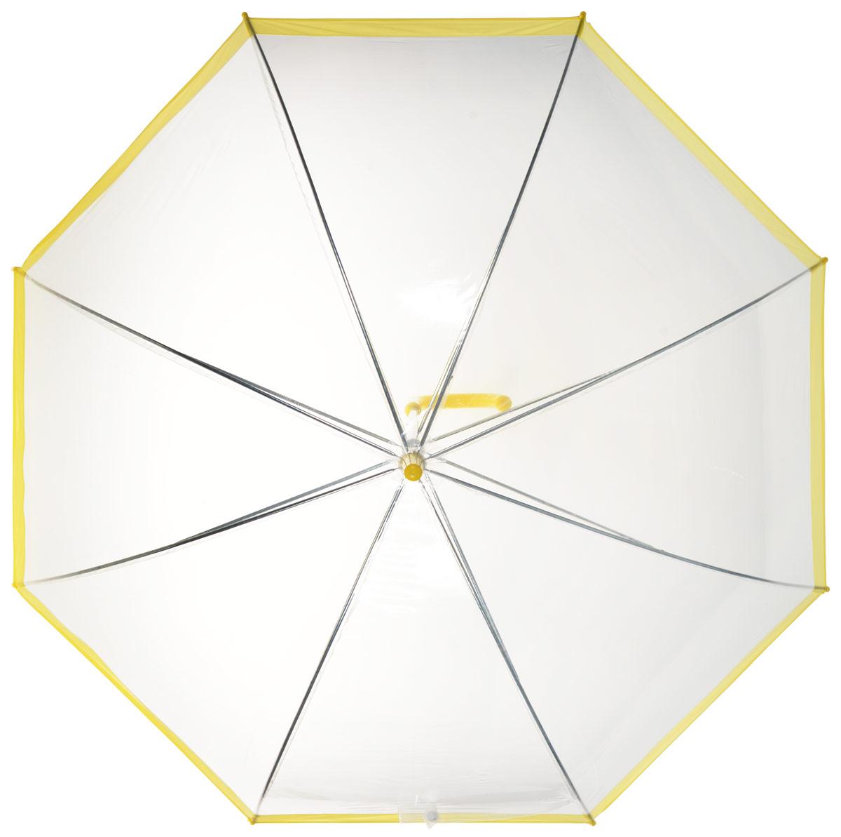 Зонт-трость женский Эврика, механика, цвет: прозрачный, желтый. 9486294862Оригинальный и элегантный женский зонт-трость Эврика порадует своим оформлением даже в ненастную погоду. Зонт состоит из восьми спиц и стержня выполненных из качественного металла. Купол выполнен из качественного ПВХ, который не пропускает воду. Зонт дополнен удобной пластиковой ручкой в виде крючка. Изделие имеет механический способ сложения: и купол, и стержень открываются и закрываются вручную до характерного щелчка. Зонт закрывается хлястиком на кнопку. Зонт имеет прозрачную текстуру, что позволяет видеть обстановку вокруг себя. Такой зонт не оставит вас незамеченной.