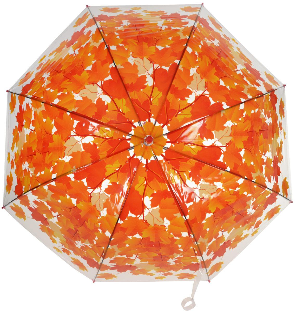 Зонт-трость женский Эврика Листья, полуавтомат, цвет: красный, оранжевый. 9696Оригинальный и элегантный женский зонт-трость Эврика порадует своим оформлением даже в ненастную погоду. Зонт состоит из восьми спиц и стержня выполненных из качественного металла. Купол выполнен из качественного полиэтилена, который не пропускает воду и оформлен красочным рисунком. Зонт дополнен удобной пластиковой ручкой в виде крючка. Изделие имеет механический способ сложения: и купол, и стержень открываются и закрываются вручную до характерного щелчка. Зонт закрывается хлястиком на кнопку. Такой зонт не оставит вас незамеченной.