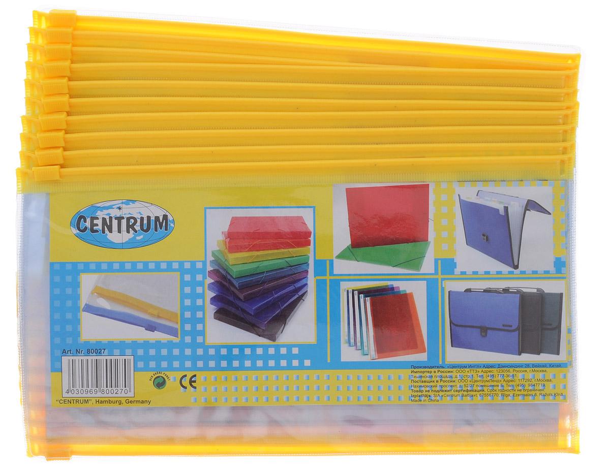 Centrum Папка-конверт на молнии цвет прозрачный желтый 20 шт80027_желтыйПапка-конверт Centrum - это удобный и практичный офисный инструмент, предназначенный для хранения и транспортировки рабочих бумаг и документов формата А5. Папка изготовлена из прозрачного пластика, закрывается на практичную застежку-молнию, имеет опрятный и неброский вид. В комплект входят 20 папок. Папка-конверт - это незаменимый атрибут для студента, школьника, офисного работника. Такая папка надежно сохранит ваши документы и сбережет их от повреждений, пыли и влаги.