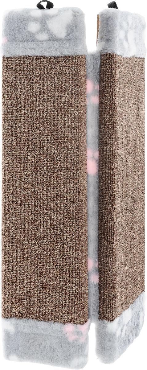 Когтеточка Elite Valley, угловая, цвет: коричневый, серый, белый, 51 х 25 х 3 смКТ-4_коричневый, серый, белыйУгловая когтеточка Elite Valley предназначена для стачивания когтей вашей кошки и предотвращения их врастания. Волокна ковролина обеспечивает естественный уход за когтями питомца. Когтеточка позволяет сохранить неповрежденными мебель и другие предметы интерьера. Такая когтеточка может крепиться на смежных поверхностях стен и пола.