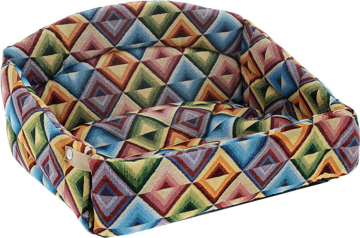 Лежак для животных Elite Valley Диван, 40 х 27 х 22 см. Л -25/2Л -25/2_ромбы миксЛежак Elite Valley Диван выполнен из текстиля (мебельная ткань) и нетканого волокна, а наполнитель - из поролона и синтепона. Изделие оснащено удобной спинкой и бортами, а также мягкой съемной подстилкой. Передний бортик лежака можно откинуть или зафиксировать при помощи металлических клепок. Лежак Elite Valley Диван впишется в интерьер любого помещения.