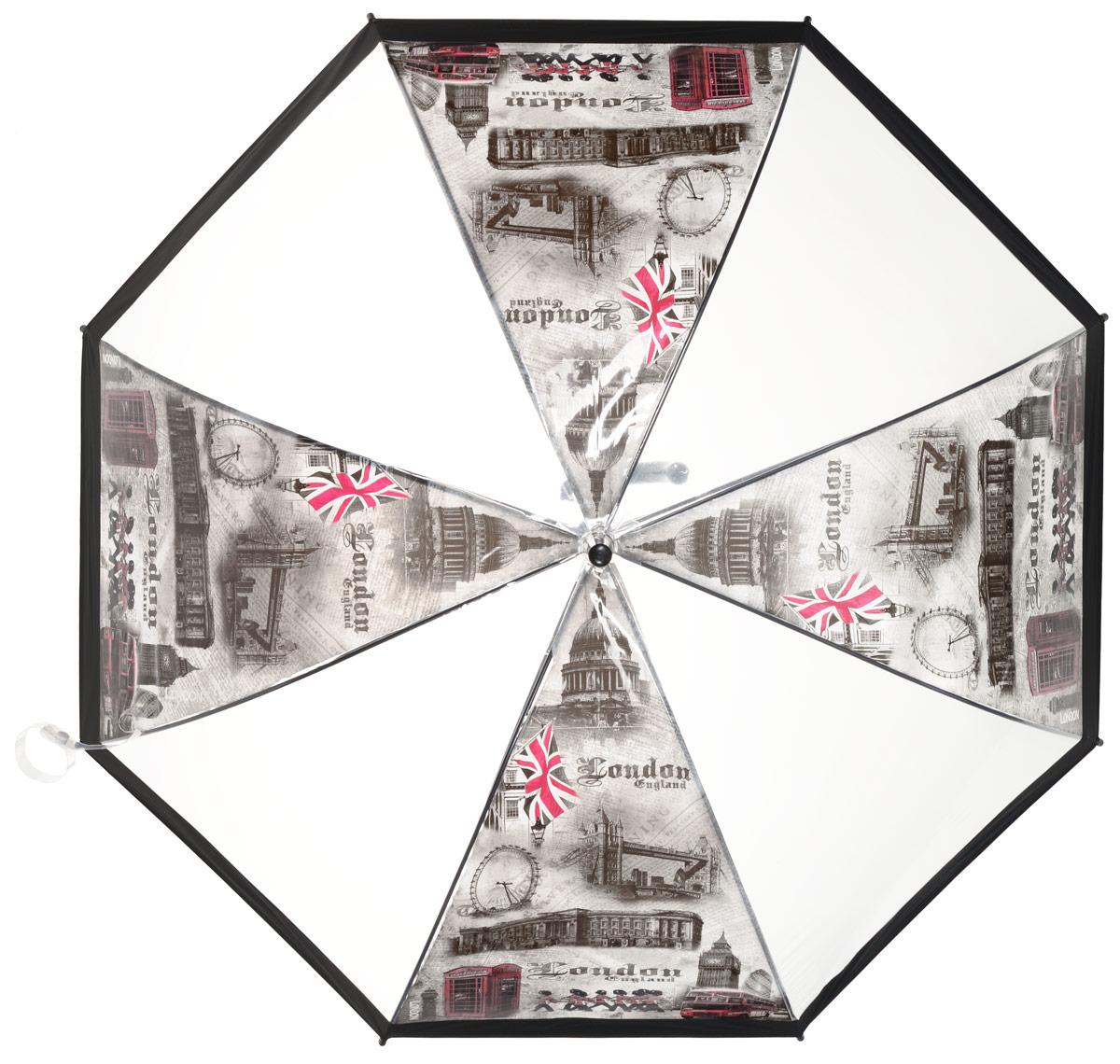 Зонт-трость женский Эврика Лондон, полуавтомат, 2 сложения, цвет: прозрачный, черный, красный. 9660396603Оригинальный женский зонт-трость Эврика не оставит вас без внимания. Изделие оформлено вставками с изображением достопримечательностей Англии. Зонт состоит из стержня и спиц, изготовленных из металла. Купол изготовлен из качественного ПВХ, который надежно защитит вас от дождя. Зонт дополнен удобной ручкой из пластика, которая выполнена в виде крючка. Также зонт имеет пластиковый наконечник, который устраняет попадание воды на стержень и уберегает зонт от повреждений. Изделие имеет полуавтоматический механизм сложения: купол открывается нажатием кнопки на ручке, а складывается вручную до характерного щелчка. Зонт закрывается хлястиком на кнопку. Такой зонт не только надежно защитит от дождя, но и подчеркнет ваш образ и сделает его интереснее.