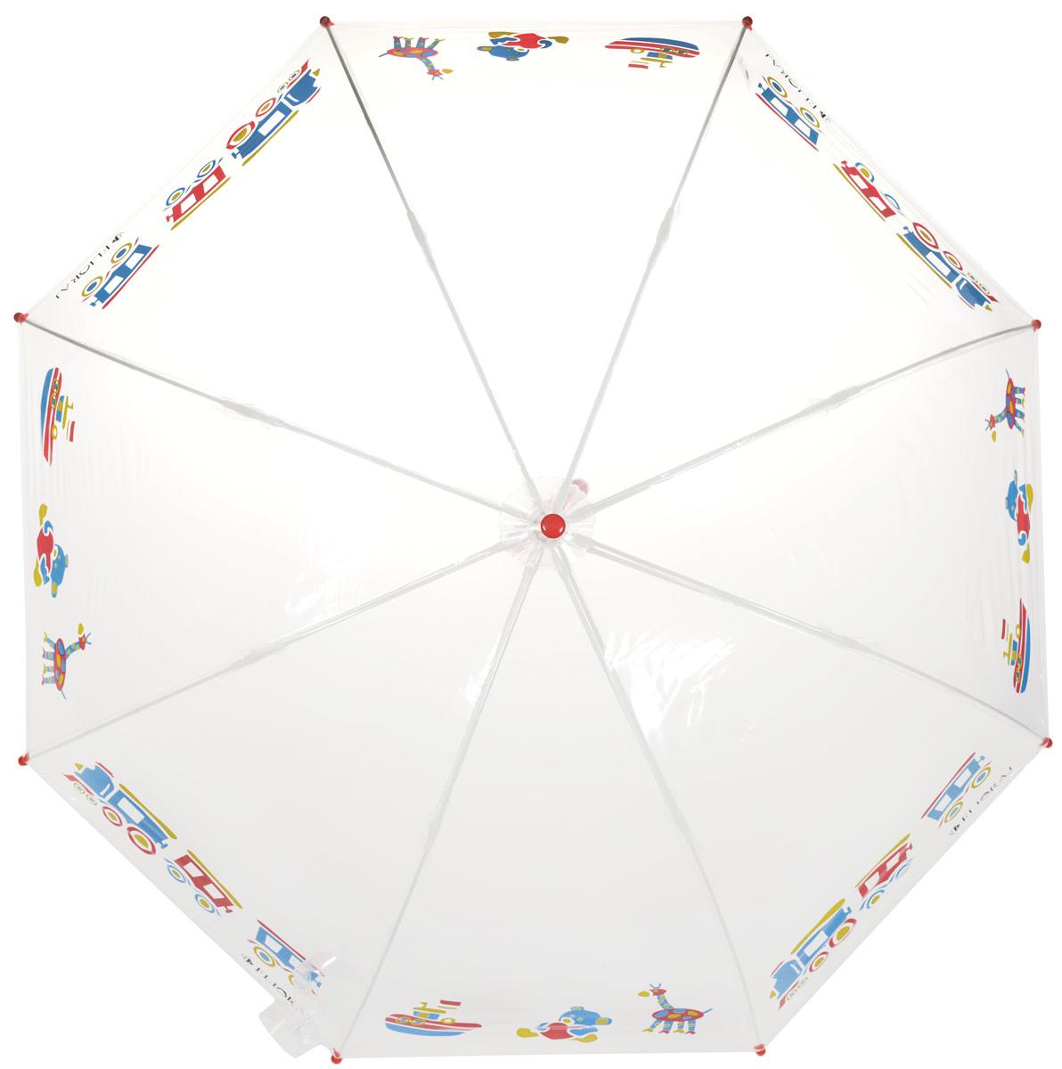Зонт-трость детский Flioraj, механика, цвет: прозрачный, мультиколор. 051211051211 FJМеханический, прочный детский зонт - надежная защита в непогоду. Прозрачный купол с интересным, проявляющимся рисунком подчеркнет индивидуальность вашего ребенка. Для удобства предусмотрена безопасная технология открывания и закрывания зонта. Спицы зонта изготовлены из долговечного, но при этом легкого фибергласса, что делает его ветроустойчивым и прочным. Купол зонта выполнен из высокотехнологичного инновационного материала нового поколения ПОЭ, который не имеет посторонних запахов и не требует дополнительных обработок тальком. Зонт прозрачный, а значит, ребенок сможет контролировать обстановку вокруг себя и избегать возникновения опасных ситуаций.
