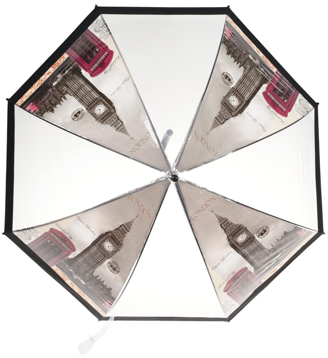 Зонт-трость женский Эврика Лондон, полуавтомат, 2 сложения, цвет: прозрачный, черный, красный. 9660496604Оригинальный женский зонт-трость Эврика не оставит вас без внимания. Изделие оформлено вставками с изображением улицы Лондона. Зонт состоит из стержня и спиц, изготовленных из металла. Купол изготовлен из качественного ПВХ, который надежно защитит вас от дождя. Зонт дополнен удобной ручкой из пластика, которая выполнена в виде крючка. Также зонт имеет пластиковый наконечник, который устраняет попадание воды на стержень и уберегает зонт от повреждений. Изделие имеет полуавтоматический механизм сложения: купол открывается нажатием кнопки на ручке, а складывается вручную до характерного щелчка. Зонт закрывается хлястиком на кнопку. Такой зонт не только надежно защитит от дождя, но и подчеркнет ваш образ и сделает его интереснее.