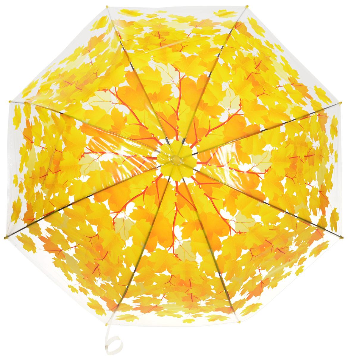 Зонт-трость женский Эврика Листья, полуавтомат, цвет: желтый. 9656796567Оригинальный и элегантный женский зонт-трость Эврика порадует своим оформлением даже в ненастную погоду. Зонт состоит из восьми спиц и стержня выполненных из качественного металла. Купол выполнен из качественного полиэтилена, который не пропускает воду и оформлен красочным рисунком. Зонт дополнен удобной пластиковой ручкой в виде крючка. Изделие имеет механический способ сложения: и купол, и стержень открываются и закрываются вручную до характерного щелчка. Зонт закрывается хлястиком на кнопку. Такой зонт не оставит вас незамеченной.
