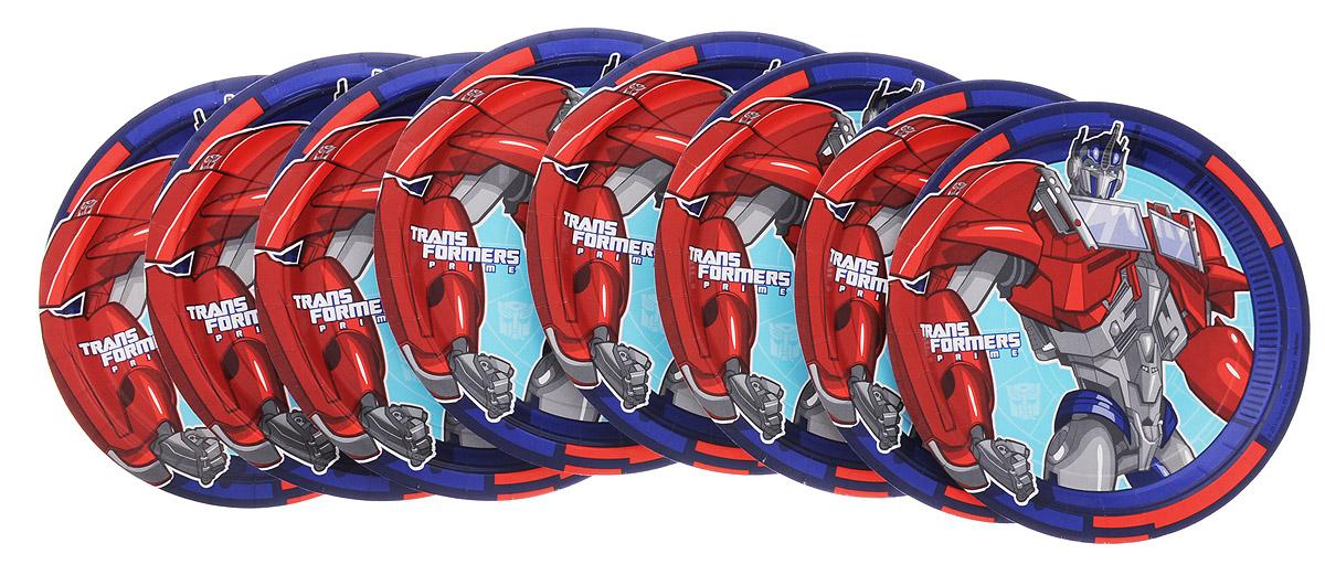 Amscan Набор одноразовых тарелок Трансформеры цвет красный синий 8 шт1502-1316_красный, синийОдноразовые тарелки прочно вошли в современную жизнь, и теперь многие люди просто не представляют праздник или пикник без таких нужных вещей: они почти невесомы, не могут разбиться и не нуждаются в мытье. Набор одноразовых тарелок Amscan Трансформеры состоит из 8 круглых тарелок диаметром 23 см, выполненных из картона с защитным покрытием. Изделия декорированы изображением знаменитых трансформеров. Благодаря защитному покрытию, они прекрасно справляются со своей задачей: удерживают еду, не промокают и не протекают.