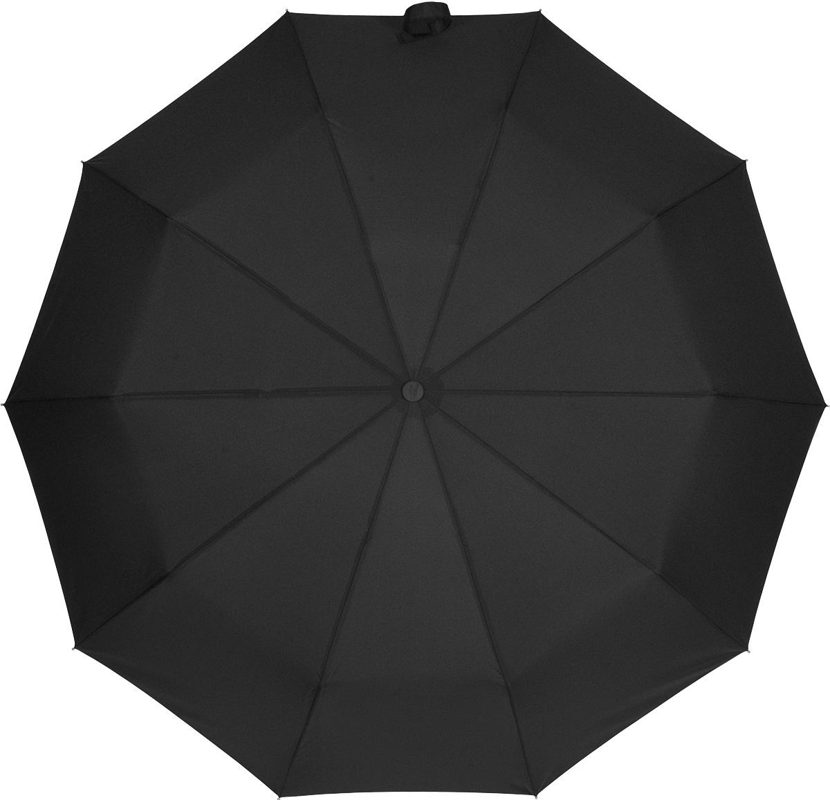 Зонт мужской Sponsa, автомат, 3 сложения, цвет: черный. 82288228Стильный и практичный мужской зонт Sponsa подойдет под любой ваш образ. Зонт состоит из десяти спиц и стержня, изготовленных из металлического сплава. Купол выполнен из качественного полиэстера, который не пропускает воду. Зонт дополнен удобной ручкой из пластика, которая имеет изогнутую форму. Зонт имеет автоматический механизм сложения: купол открывается и закрывается нажатием кнопки на ручке, стержень складывается вручную до характерного щелчка, благодаря чему открыть и закрыть зонт можно одной рукой. К зонту прилагается чехол, который закрывается на молнию. Такой стильный и практичный аксессуар не только надежно защитит вас от дождя, но и подчеркнет ваш стиль.
