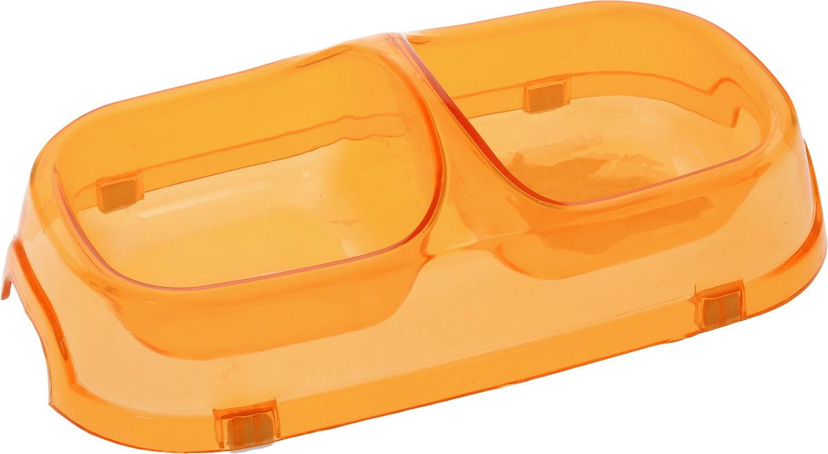 Миска для животных Каскад, двойная, цвет: прозрачный, оранжевый, 150 мл8301714_прозрачный, оранжевыйДвойная миска Каскад - это функциональный аксессуар для собак, кошек и грызунов. Изделие, выполненное из высококачественного цветного пластика, оснащено противоскользящими вставками. В миску можно положить два разных блюда - в каждое отделение. Яркий дизайн придаст изделию индивидуальность и удовлетворит вкус самых взыскательных зоовладельцев. Объем отделения: 150 мл. Размер отделения (по верхнему краю): 9,5 х 9,5 см. Высота отделения: 4 см. Общий размер миски: 22 х 12 х 6 см.
