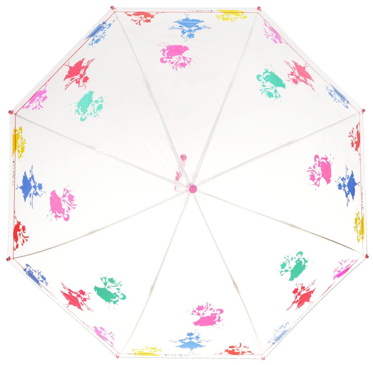 Зонт-трость детский Flioraj, механика, цвет: прозрачный, мультиколор. 051204051204 FJСтильный белый зонт с яркими красными акцентами на каркасе идеально подойдет под модный наряд принцессы. Маленькие феи будто случайно спустились на зонт и теперь кружатся в радужном танце. Прозрачный детский зонтик Flioraj предназначен для детей младшего и среднего школьного возраста. Для удобства предусмотрена безопасная технология открывания и закрывания зонта. Спицы зонта изготовлены из долговечного, но при этом легкого фибергласса, что делает его ветроустойчивым и прочным. Купол зонта выполнен из высокотехнологичного инновационного материала нового поколения ПОЭ, который не имеет посторонних запахов и не требует дополнительных обработок тальком. Зонт прозрачный, а значит, ребенок сможет контролировать обстановку вокруг себя и избегать возникновения опасных ситуаций.