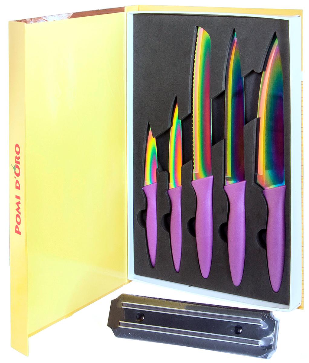 Набор ножей Pomi d'Oro SET70 (10) Titano, с титановым покрытием, 5 шт77.858@23568 / SET70 (10) TitanoНожи стальные с титановым покрытием Pomi d'Oro в наборе из 5 шт, SET70 Titan. Обрезиненная ручка. Магнит в комплекте. Kerano - униальный керамический нано-материал производства Kerano Produzione SPA, который не содержит вредные примеси, в т.ч. перфоктановую кислоту (PTFE) и примеси, используемые для легированной стали. Химически нейтрален, не вступает в химическую реакцию с пищей во время готовки. В комплекте: шеф нож 20см, нож для карвинга 20 см, хлебный нож 20см, универсальный нож 12 см, овощной нож 8 см, магнитный держатель.