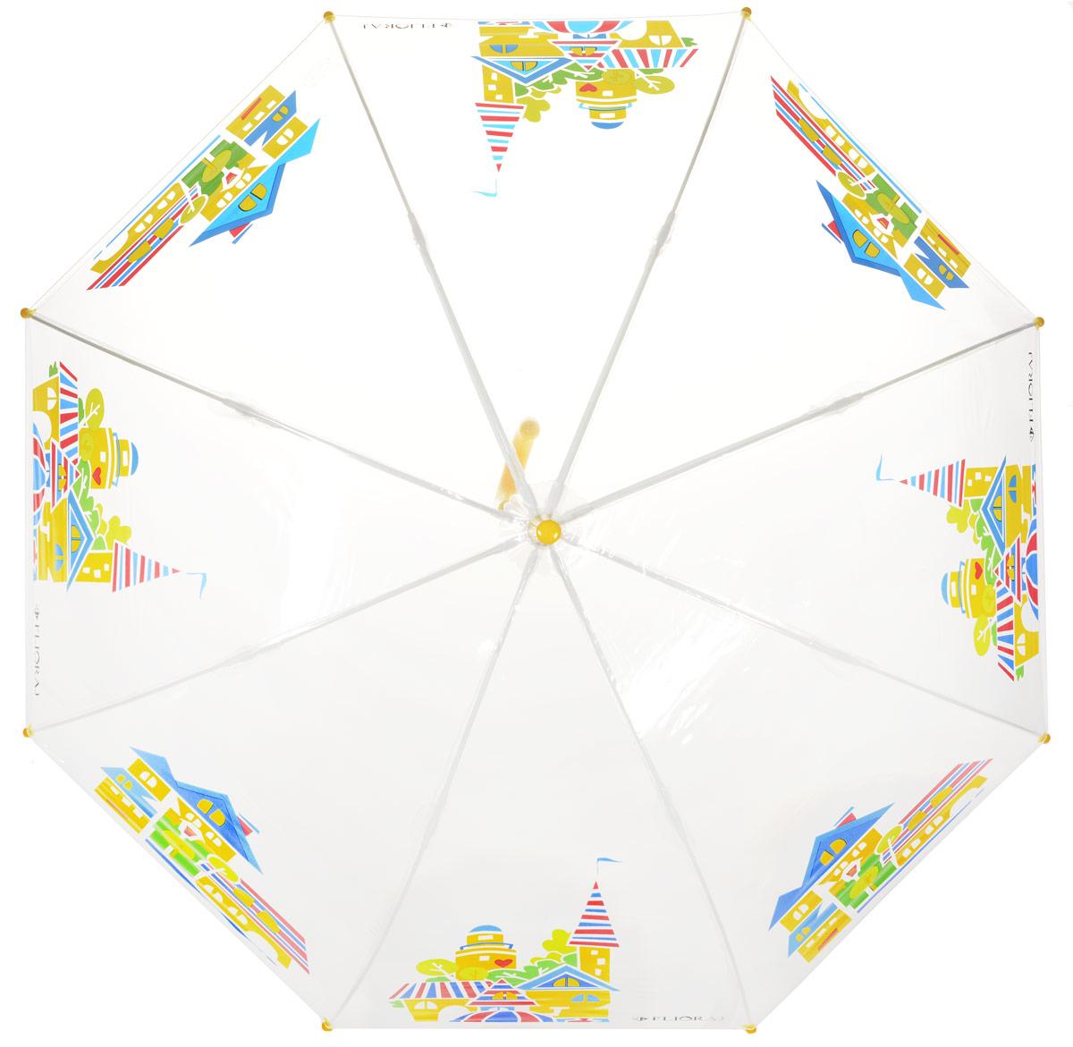 Зонт-трость детский Flioraj, механика, цвет: прозрачный, мультиколор. 051208051208 FJОригинальный и практичный детский зонт-трость Flioraj будет отличным подарком для вашего ребенка. Зонт состоит из восьми спиц и стержня выполненных из прочного, но легкого фибергласса. Купол выполнен из качественного ПВХ, который не пропускает воду и оформлен красочным рисунком. Зонт дополнен удобной пластиковой ручкой в виде крючка. Изделие имеет механический способ сложения: и купол, и стержень открываются и закрываются вручную до характерного щелчка. Зонт закрывается хлястиком на кнопку. Зонт имеет прозрачную текстуру, что позволяет ребенку видеть обстановку вокруг себя.