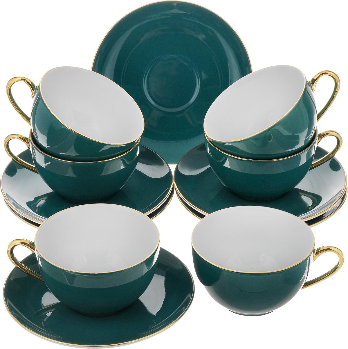 Набор чайный Yves De La Rosiere Monalisa, цвет: темно-бирюзовый, 12 предметов619501 3123Чайный набор Yves De La Rosiere Monalisa состоит из 6 чашек и 6 блюдец, изготовленных из высококачественного фарфора. Такой набор прекрасно дополнит сервировку стола к чаепитию, а также станет замечательным подарком для ваших друзей и близких. Объем чашки: 220 мл. Диаметр чашки по верхнему краю: 9,5 см. Высота чашки: 5,5 см. Диаметр блюдца: 15 см. Высота блюдца: 2 см.