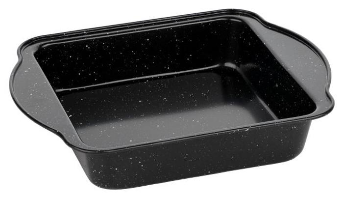 Форма для запекания Walmer Black Marble, 27 х 22 х 5 смW12022325Прямоугольная форма для выпечки Walmer Black Marbler, выполненная из высококачественной углеродистой стали, гарантирует великолепный результат. Материал корпуса, эффективность которого усилена вкраплениями дополнительного слоя твердых частиц, обеспечивает максимальную теплоотдачу, экономя время приготовления. Двухслойное антипригарное покрытие Xynflon полностью безопасно и не выделяет вредных веществ при нагреве. Форма имеет эргономичные ручки. Можно мыть в посудомоечной машине.