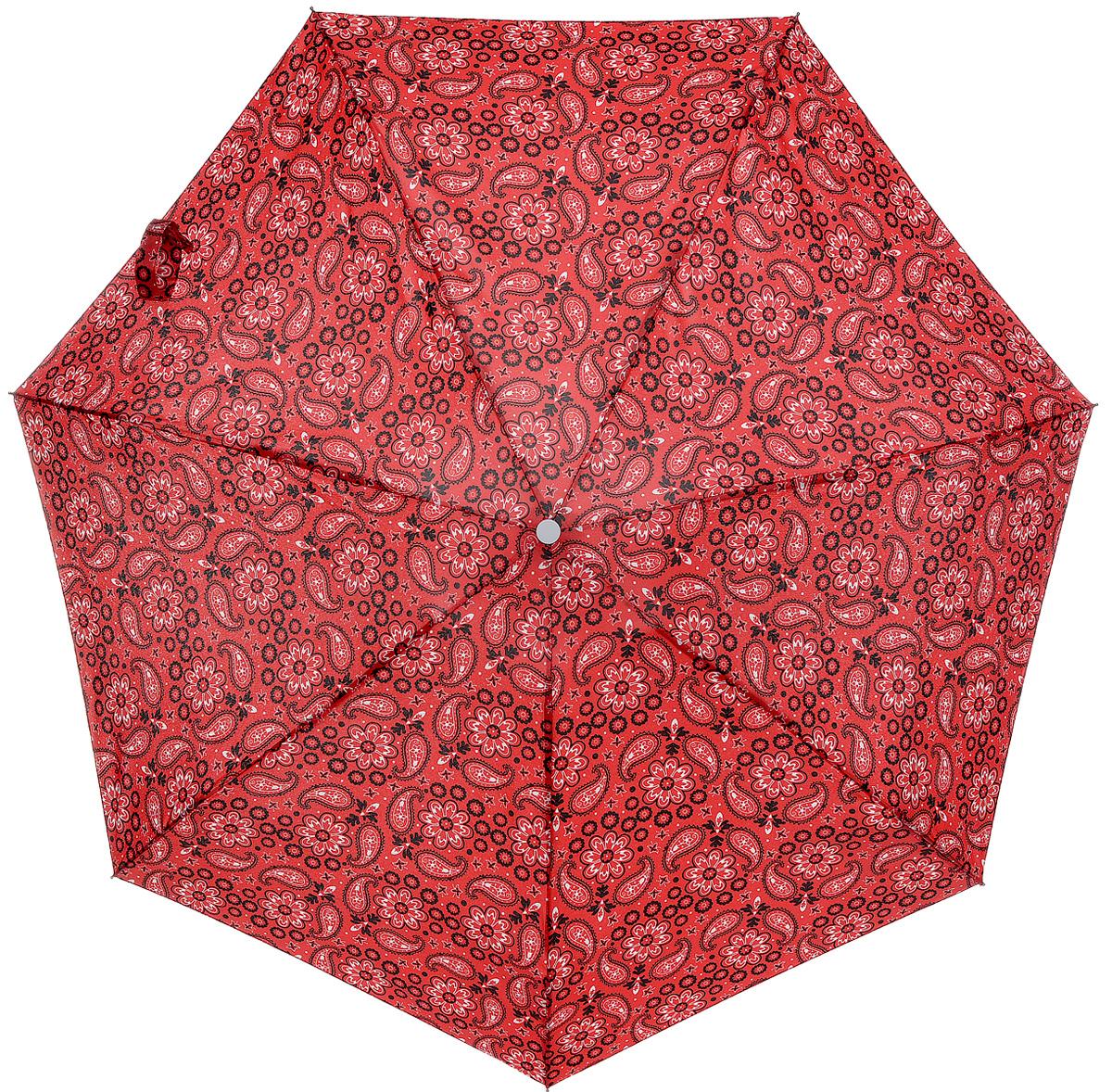 Зонт женский Labbra, механика, 5 сложений, цвет: красный. M5-05-043M5-05-043Яркий зонт Labbra не оставит вас незамеченной. Зонт оформлен орнаментом пейсли. Стержень изделия изготовлен из алюминия. Зонт состоит из семи спиц, изготовленных из фибергласса и алюминия, дополнен ручкой из пластика. Купол выполнен из качественного полиэстера, который не пропускает воду. Зонт имеет механический способ сложения: и купол, и стержень открываются вручную до характерного щелчка. Ручка дополнена петлей, благодаря которой зонт можно носить на запястье. К зонту прилагается чехол. Практичный аксессуар даже в ненастную погоду позволит вам оставаться стильной и элегантной.