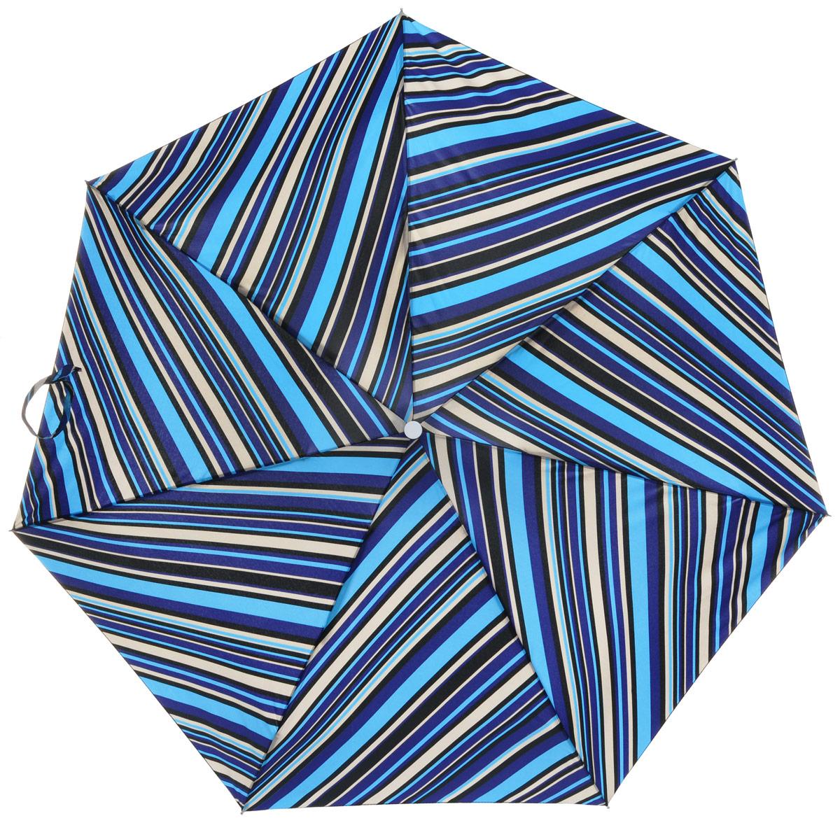 Зонт женский Labbra, механика, 5 сложений, цвет: синий. M5-05-013M5-05-013Яркий зонт Labbra не оставит вас незамеченной. Зонт оформлен оригинальным изображением полосок. Стержень изделия изготовлен из алюминия. Зонт состоит из семи спиц, изготовленных из фибергласса и алюминия, дополнен ручкой из пластика. Купол выполнен из качественного полиэстера, который не пропускает воду. Зонт имеет механический способ сложения: и купол, и стержень открываются вручную до характерного щелчка. Ручка дополнена петлей, благодаря которой зонт можно носить на запястье. К зонту прилагается чехол. Практичный аксессуар даже в ненастную погоду позволит вам оставаться стильной и элегантной.