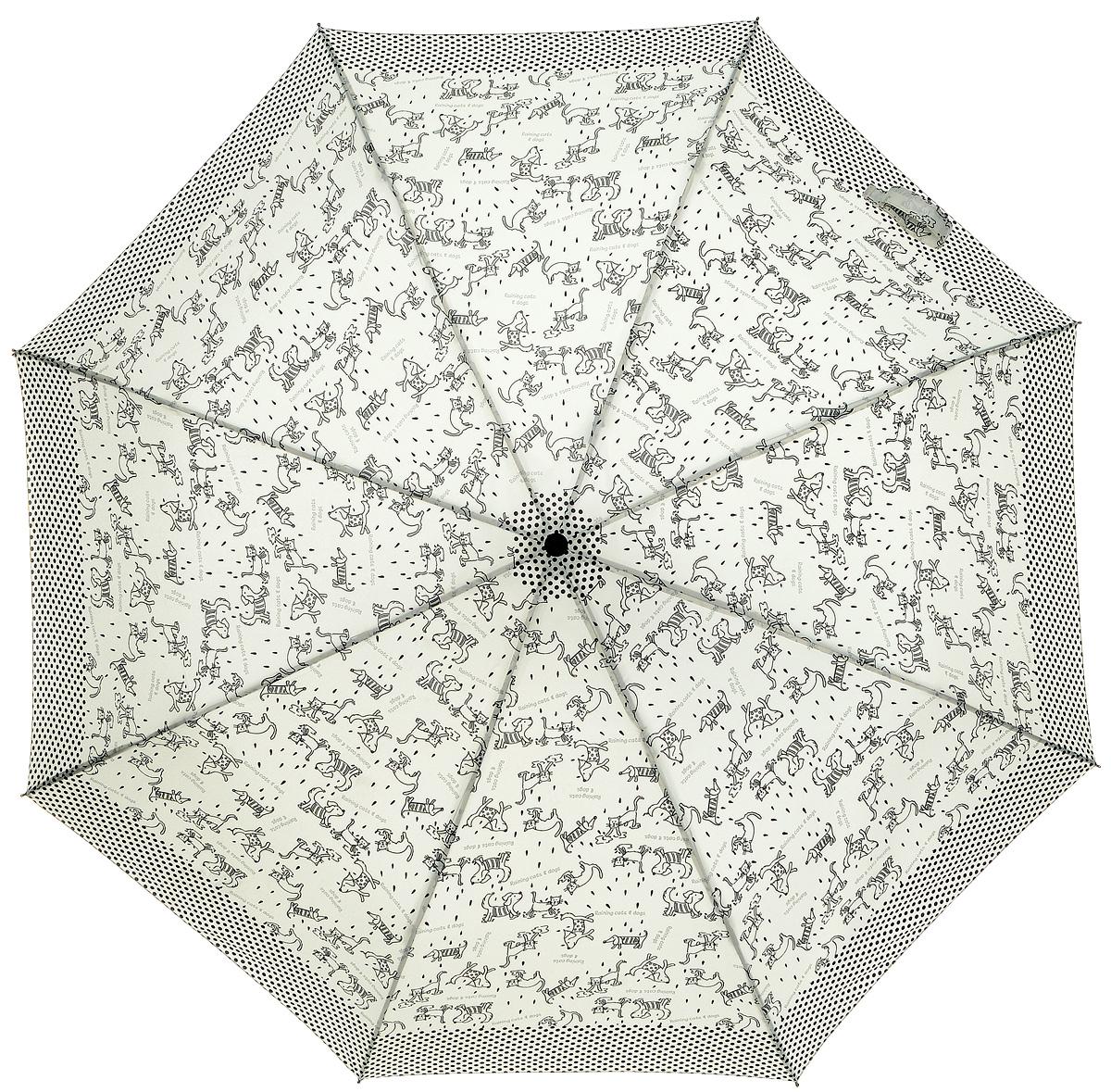 Зонт женский Labbra, автомат, 3 сложения, цвет: молочный, черный. A3-05-010A3-05-010Яркий зонт Labbra не оставит вас незамеченной. Зонт оформлен рисунком в виде очаровательных животных. Зонт состоит из восьми спиц и стержня, изготовленных из стали и фибергласса. Зонт дополнен удобной ручкой из пластика. Купол выполнен из качественного эпонжа, который не пропускает воду. Зонт имеет автоматический механизм сложения: купол открывается и закрывается нажатием кнопки на ручке, стержень складывается вручную до характерного щелчка, благодаря чему открыть и закрыть зонт можно одной рукой Ручка дополнена петлей, благодаря которой зонт можно носить на запястье. К зонту прилагается чехол. Удобный и практичный аксессуар даже в ненастную погоду позволит вам оставаться стильной и элегантной.