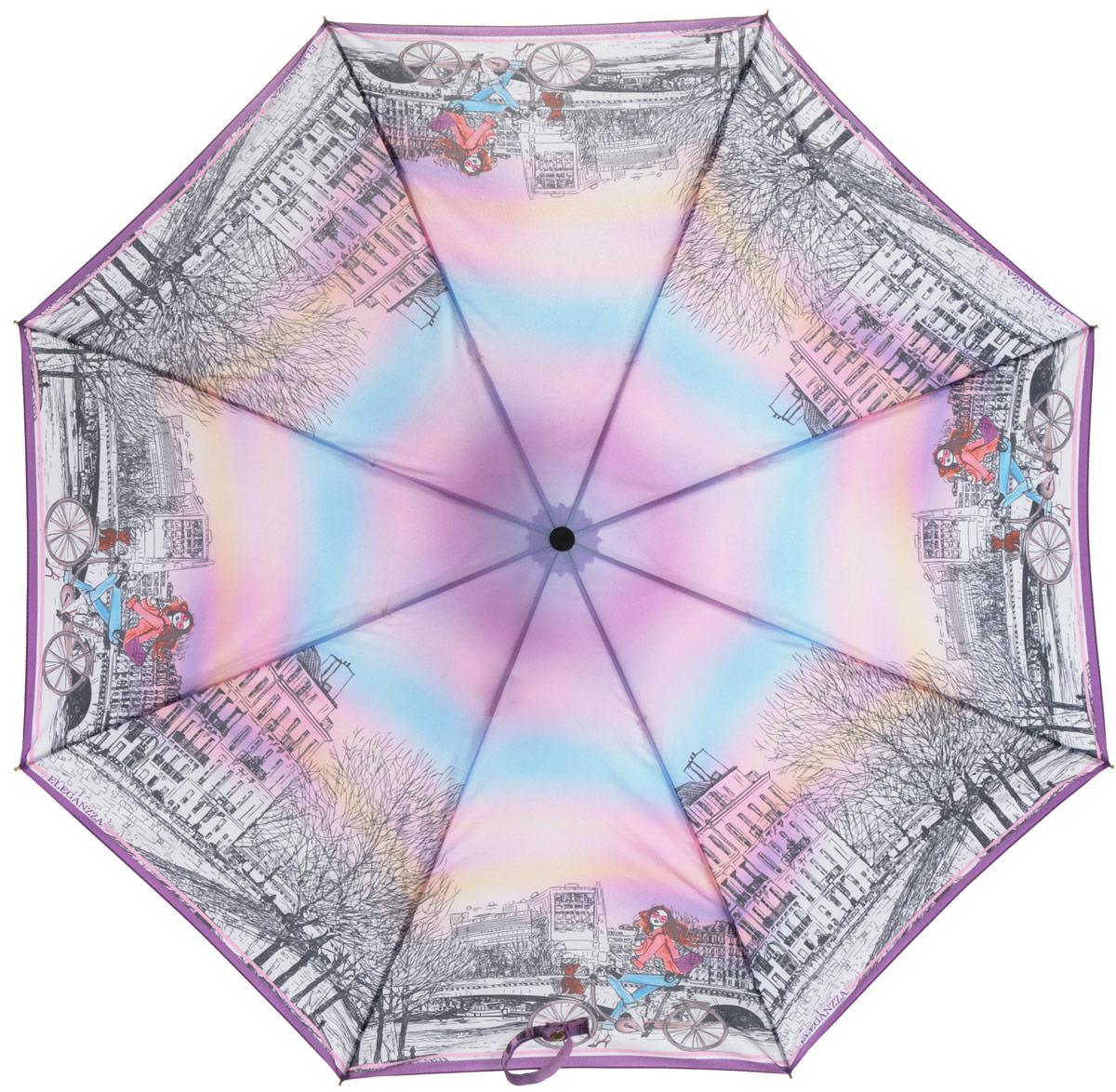 Зонт женский Eleganzza, автомат, 3 сложения, цвет: белый, фиолетовый, черный. A3-05-0297A3-05-0297Стильный и элегантный зонт Eleganzza не оставит вас незамеченной. Зонт оформлен оригинальным принтом. Зонт состоит из восьми спиц и стержня, изготовленных из стали, алюминия и фибергласса. Купол выполнен из качественного полиэстера и эпонжа, которые не пропускают воду. Зонт дополнен удобной ручкой из пластика. Зонт имеет автоматический механизм сложения: купол открывается и закрывается нажатием кнопки на ручке, стержень складывается вручную до характерного щелчка и каркас не вылетает обратно, благодаря чему открыть и закрыть зонт можно одной рукой. Ручка дополнена петлей, благодаря которой зонт можно носить на запястье . К зонту прилагается чехол. Удобный и практичный аксессуар даже в ненастную погоду позволит вам оставаться женственной и привлекательной.