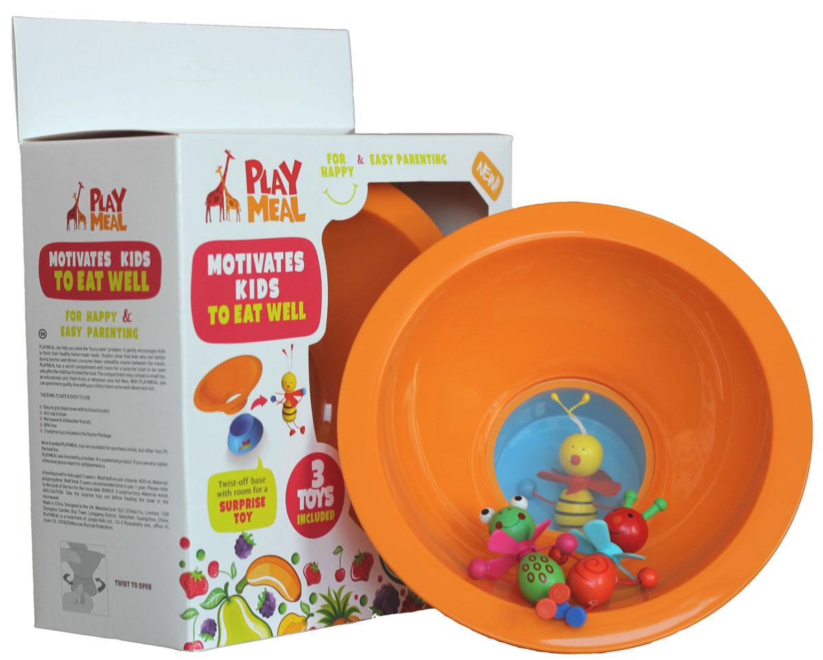 PlayMeal Мотивирущая детская посуда с 3 игрушками-сюрпризами1.213.114.12.1Может ли полезный завтрак/обед стать увлекательным приключением? Мы считаем, что да! Набор PLAYMEAL в игровой форме улучшает аппетит ребенка. Он отлично подойдет для маленьких исследователей, которым не терпится узнать: какой сюрприз спрятан под прозрачным дном этой тарелки? А чтобы увидеть сюрприз, нужно съесть всю порцию! Уникальная особенность этой посуды состоит в том, что сюрпризы в потайном отсеке можно менять, и вы сможете радовать малыша новой игрой каждый день. Тарелка сделана из качественного пищевого пластика (без БФА и меламина) и абсолютно безопасна для детей (не бьется, не выделяет красящих веществ). Ее можно мыть в посудомоечной машине и использовать в микроволновой печи. В комплект входят 3 игрушки-сюрприза!