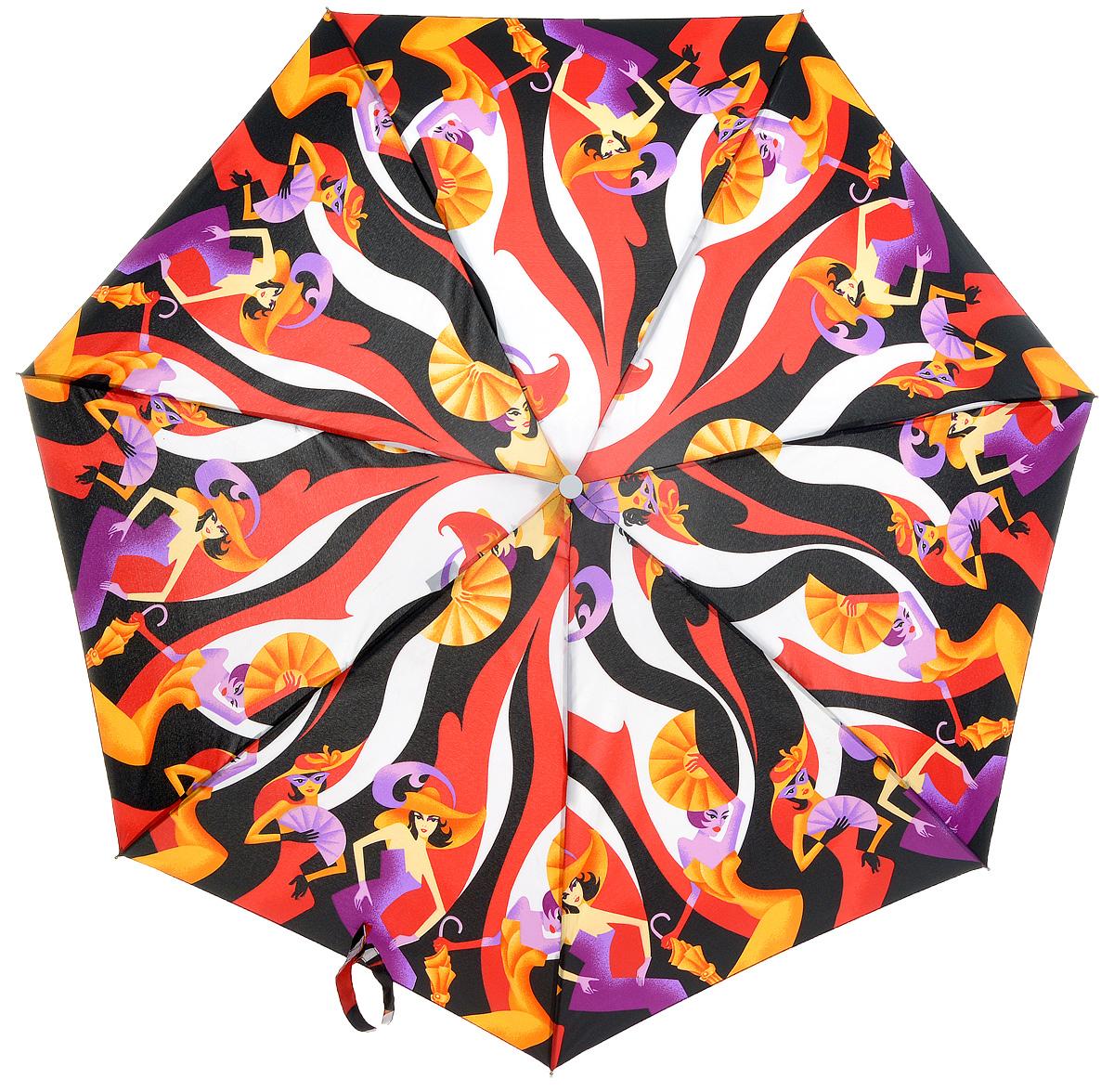 Зонт женский Labbra, механика, 5 сложений, цвет: мультиколор. M5-05-001M5-05-001Яркий зонт Labbra не оставит вас незамеченной. Зонт оформлен изображением в виде танцующих женщин. Стержень изделия изготовлен из алюминия. Зонт состоит из семи спиц, изготовленных из фибергласса и алюминия, дополнен ручкой из пластика. Купол выполнен из качественного полиэстера, который не пропускает воду. Зонт имеет механический способ сложения: и купол, и стержень открываются вручную до характерного щелчка. Ручка дополнена петлей, благодаря которой зонт можно носить на запястье. К зонту прилагается чехол. Практичный аксессуар даже в ненастную погоду позволит вам оставаться стильной и элегантной.
