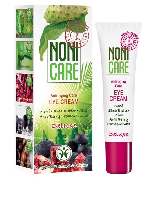Nonicare Омолаживающий крем для контура глаз Deluxe - Eye Cream 15 мл4260254460043Ультралегкий крем для интенсивного восстановления кожи вокруг глаз с лифтинговым и противоотечным действием. Благодаря входящему в состав соку фрукта Нони, масел ши и миндаля, экстракта плодов пальмы Acai Berry, граната и манго мгновенно наолняют кожу влагой, устраняют сухость, стянутость и ощущение дискомфорта. Средство устраняет застойные явления - причину отеков и темных кругов под глазами. Крем оказывает мощнейшее антиоксидантное действие, восстанавливает упругость и эластичность, способствует улучшению кожного дыхания, микроциркуляции и обменных процессов, стимулирует синтез коллагеновых и эластиновых волокон. Оказывает ангиопротективное и лимфодренажное воздействие, повышает иммунный статус кожи. Осуществляет защиту от агрессивного воздействия экологии и УФ излучения. Экстракты граната и ягод асаи возвращают коже жизненную силу и укрепляют ее, стимулируют синтез коллагена и препятствуют его разрушению, улучшают трофику тканей. Мгновенно насыщает влагой глубокие и поверхностные...