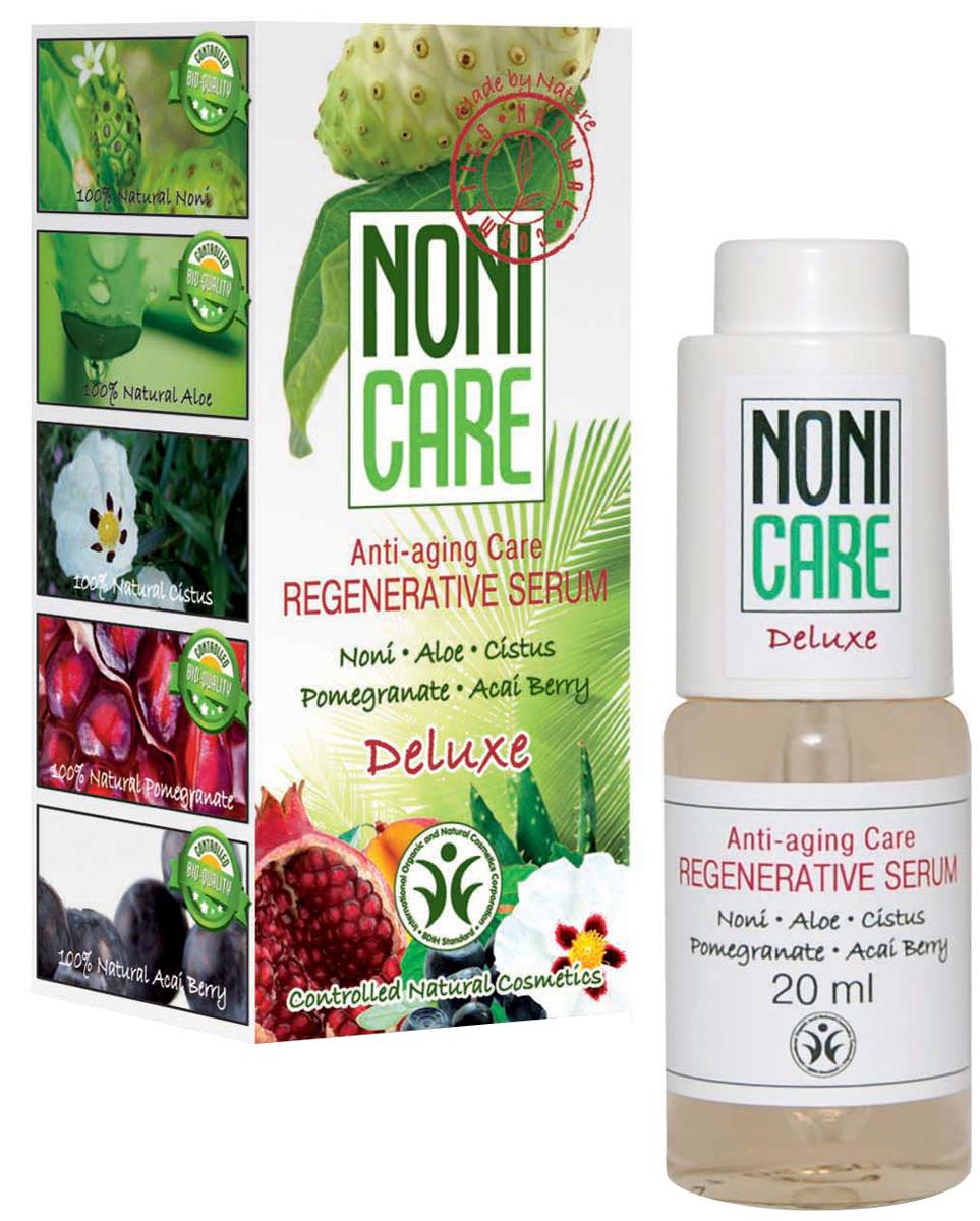 Nonicare Восстанавливающая сыворотка Deluxe - Regenerative Serum 20 мл4260254460319Высококонцентрированное средство с активной антивозрастной восстанавливающей формулой. Уникальный состав сыворотки эффективно борется с признаками старения кожи и является идеальным средством профилактики появления морщин. Сыворотка минимизирует и предотвращает появление морщин и заломов, в том числе мимических. Выравнивает рельеф и тон кожи, оказывает лифтинговое действие. Сок Нони снимает усталость и напряжение кожи, оказывает антистрессовое действие, запускает процессы регенерации. Экстракт ладанника нейтрализует свободные радикалы, оказывая мощное антиоксидантное действие, замедляет процессы старения кожи. Натуральные экстракты экзотических фруктов и ягод улучшают микроциркуляцию и гидробаланс. Экстракты карликовой пальмы, ягод асаи и граната активизируют синтез коллагеновых и эластиновых волокон, увеличивая упругость и пластичность кожи, восстанавливая её структуру и укрепляя овал лица. Кожа становится более плотной, наполненной и подтянутой. Регулярное курсовое применение...
