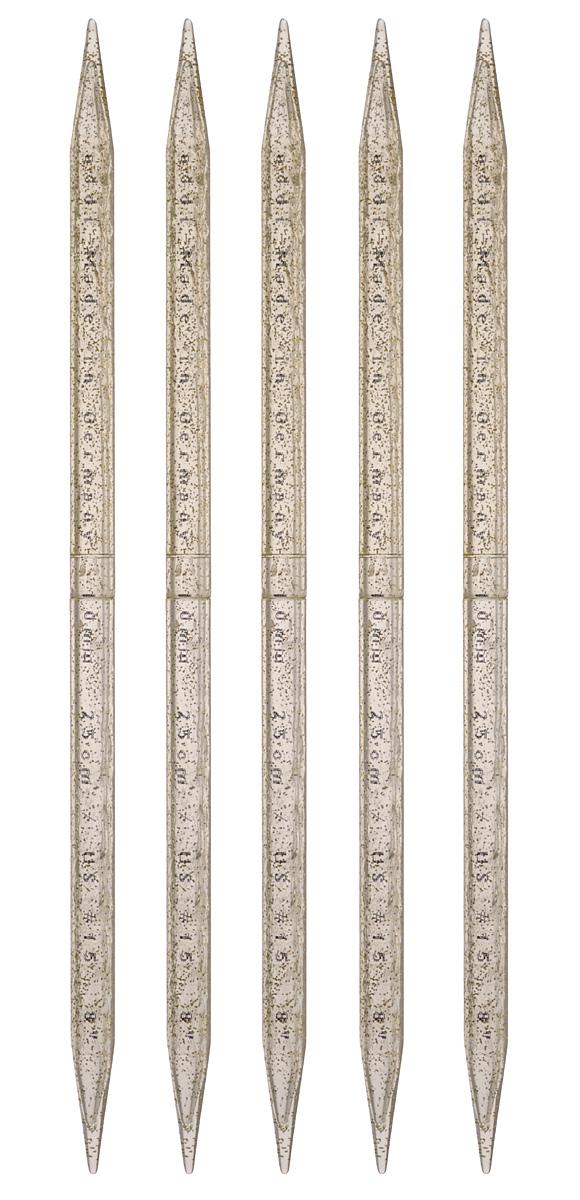 Спицы чулочные Addi, пластиковые, диаметр 10 мм, длина 25 см, 5 шт401-7/10-25Чулочные спицы Addi выполнены из высококачественного пластика с декором золотыми блестками. Плотный пластиковый состав позволяет спицам уверенно выполнять работу, создавая при этом приятные тактильные ощущения для вязальщицы. Спицы не имеют ограничителей и предназначены для вязания бейки горловины, чулок, шапочек, варежек и носков. Вы сможете вязать для себя и делать подарки друзьям. Рукоделие всегда считалось изысканным, благородным делом. Работа, сделанная своими руками, долго будет радовать вас и ваших близких.