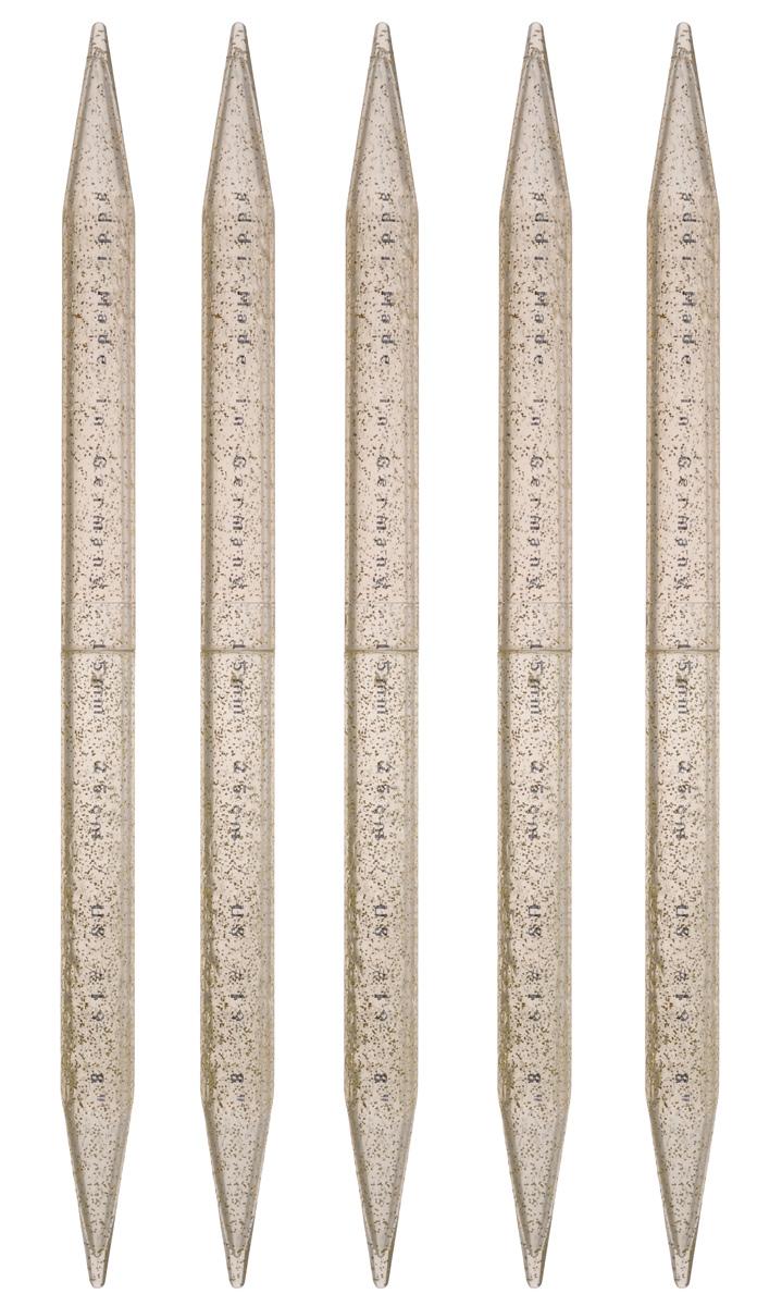 Спицы чулочные Addi, пластиковые, диаметр 15 мм, длина 25 см, 5 шт401-7/15-25Чулочные спицы Addi выполнены из высококачественного пластика с декором золотыми блестками. Плотный пластиковый состав позволяет спицам уверенно выполнять работу, создавая при этом приятные тактильные ощущения для вязальщицы. Спицы не имеют ограничителей и предназначены для вязания бейки горловины, чулок, шапочек, варежек и носков. Вы сможете вязать для себя и делать подарки друзьям. Рукоделие всегда считалось изысканным, благородным делом. Работа, сделанная своими руками, долго будет радовать вас и ваших близких.