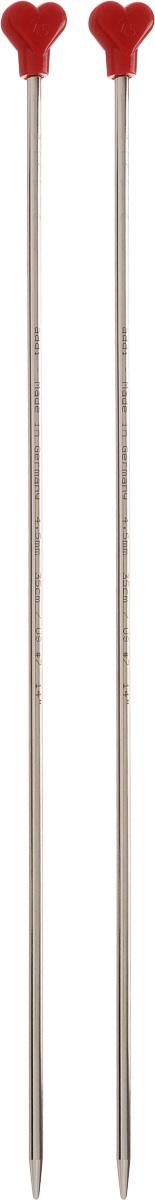 Спицы Addi, металлические, прямые, диаметр 4,5 мм, длина 35 см, 2 шт100-7/4.5-35Спицы для вязания Addi, изготовленные из алюминия, обладают прекрасными тактильными качествами и благородным серебристо-матовым цветом. На кончиках в качестве стопперов есть фирменный логотип Addi в виде сердечка, что придает изделию уникальный вид. Прямые спицы используются при плоском вязании отдельных деталей, которые впоследствии будут сшиты в цельное изделие. Вы сможете вязать для себя и делать подарки друзьям. Рукоделие всегда считалось изысканным, благородным делом. Работа, сделанная своими руками, долго будет радовать вас и ваших близких.