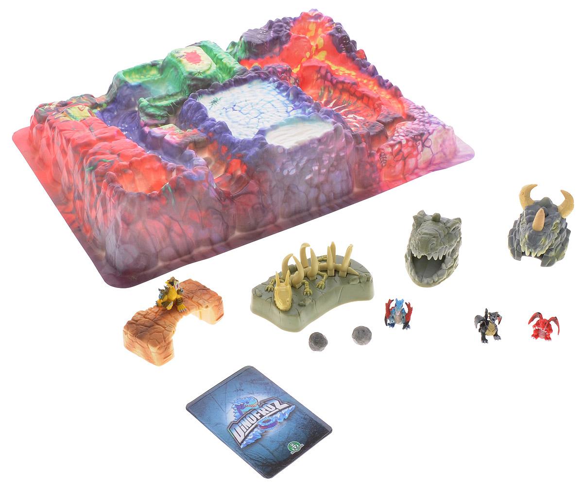Dinofroz Игровой набор DinogateGPH07287Игровой набор Dinofroz Dinogate позволит вашему малышу совершить увлекательное путешествие в мир мультсериала Dinofroz. В набор входит просторное игровое поле, 4 мини-фигурки драконов и 4 ловушки, которые ребенок сможет расставить в специально отмеченных частях игрового поля. Ловушка-мост проваливается под поставленной на него фигуркой, скелет ящера может схватить неосторожного героя, а головы динозавров при нажатии на специальные кнопки стреляют камнями. Все элементы набора выполнены из пластика. Такой набор непременно понравится ребенку, он подарит вашему малышу множество веселых моментов и увлекательные возможности для игры.