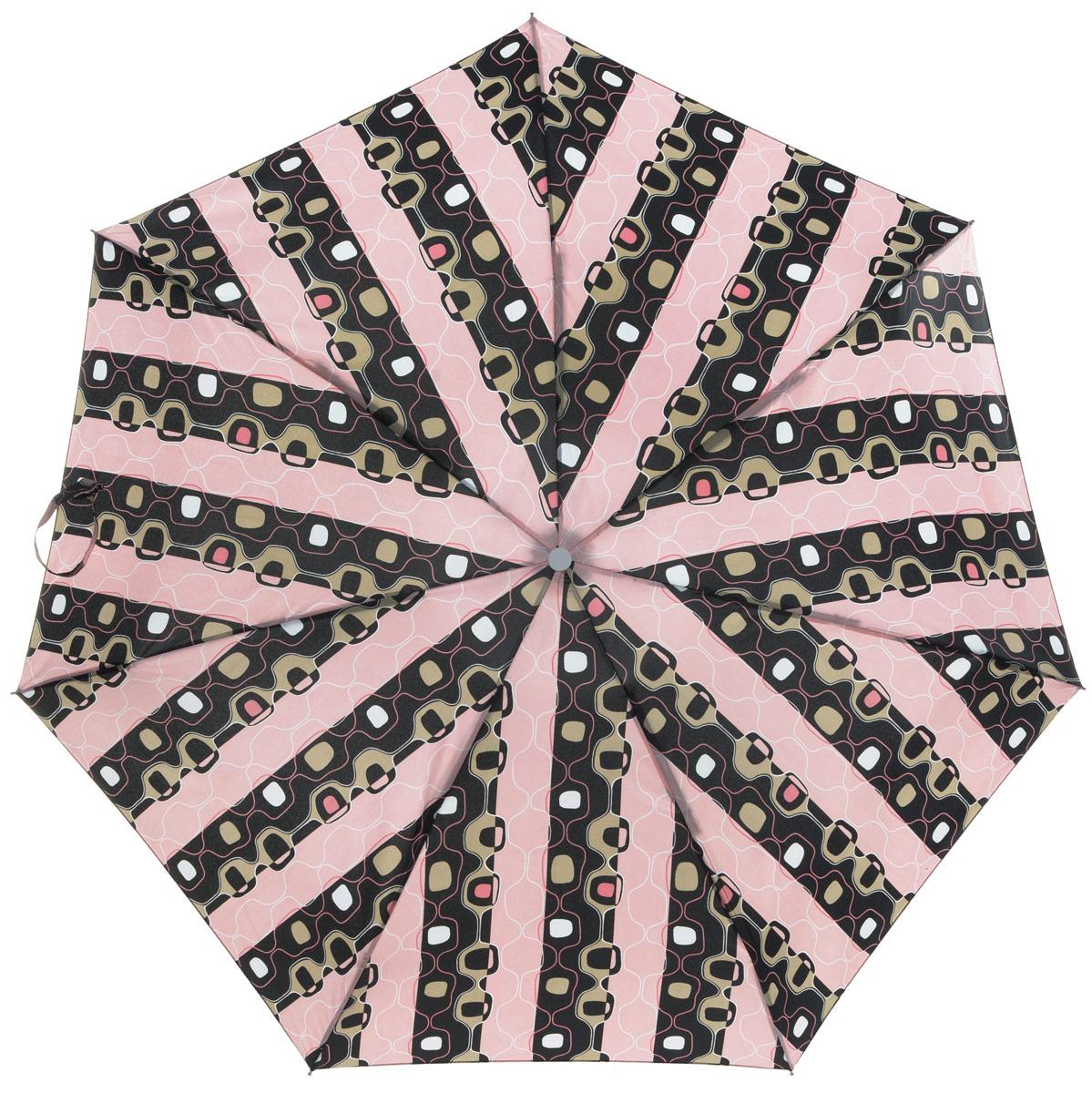 Зонт женский Labbra, механика, 5 сложений, цвет: черный, розовый. M5-05-011M5-05-011Яркий зонт Labbra не оставит вас незамеченной. Зонт оформлен оригинальным узором. Стержень изделия изготовлен из алюминия. Зонт состоит из семи спиц, изготовленных из фибергласса и алюминия, дополнен ручкой из пластика. Купол выполнен из качественного полиэстера, который не пропускает воду. Зонт имеет механический способ сложения: и купол, и стержень открываются вручную до характерного щелчка. Ручка дополнена петлей, благодаря которой зонт можно носить на запястье. К зонту прилагается чехол. Практичный аксессуар даже в ненастную погоду позволит вам оставаться стильной и элегантной.