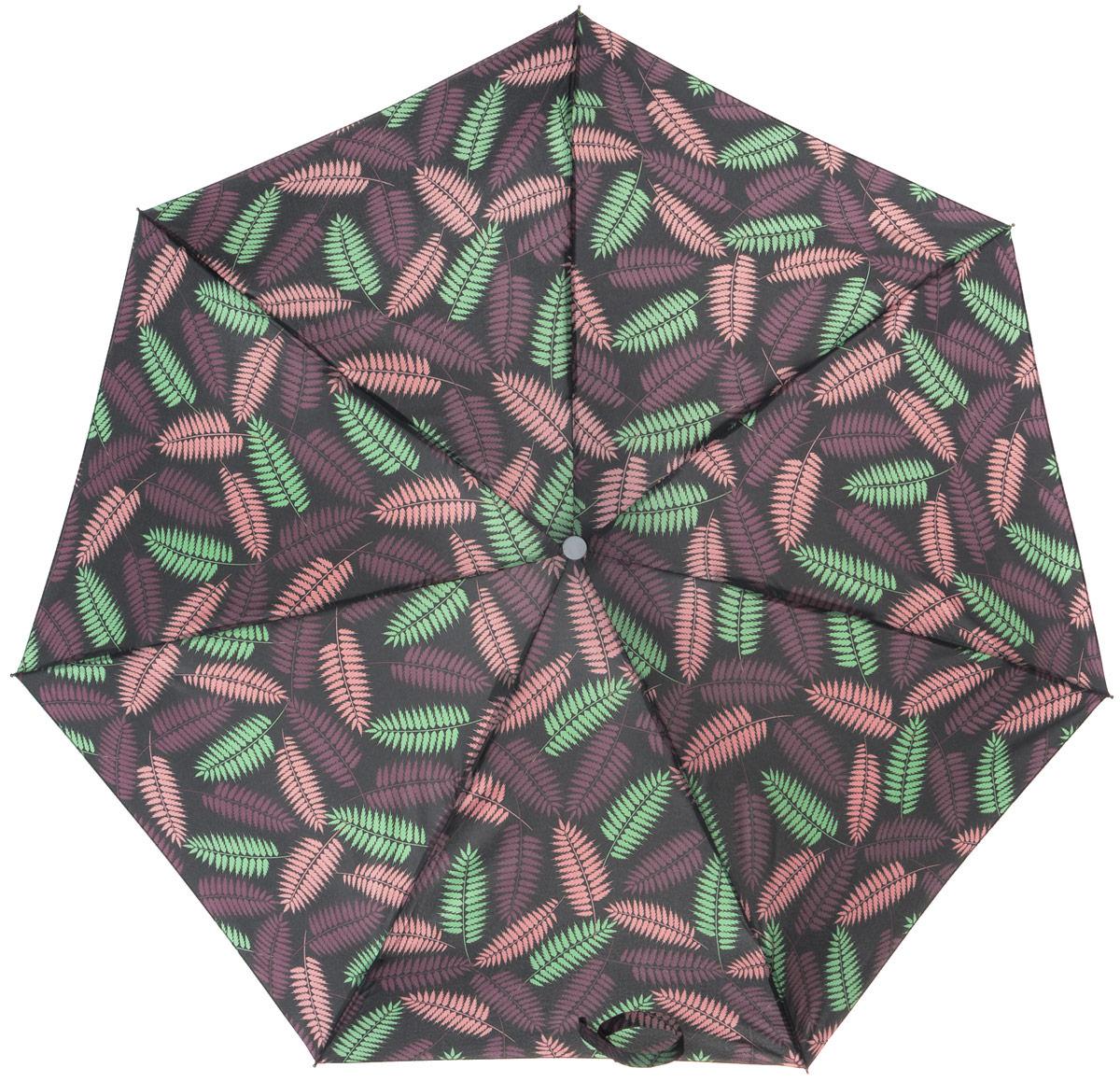 Зонт женский Labbra, механика, 5 сложений, цвет: мультиколор. M5-05-034M5-05-034Яркий зонт Labbra не оставит вас незамеченной. Зонт оформлен изображением в виде разноцветных листков. Стержень изделия изготовлен из алюминия. Зонт состоит из семи спиц, изготовленных из фибергласса и алюминия, дополнен ручкой из пластика. Купол выполнен из качественного полиэстера, который не пропускает воду. Зонт имеет механический способ сложения: и купол, и стержень открываются вручную до характерного щелчка. Ручка дополнена петлей, благодаря которой зонт можно носить на запястье. К зонту прилагается чехол. Практичный аксессуар даже в ненастную погоду позволит вам оставаться стильной и элегантной.
