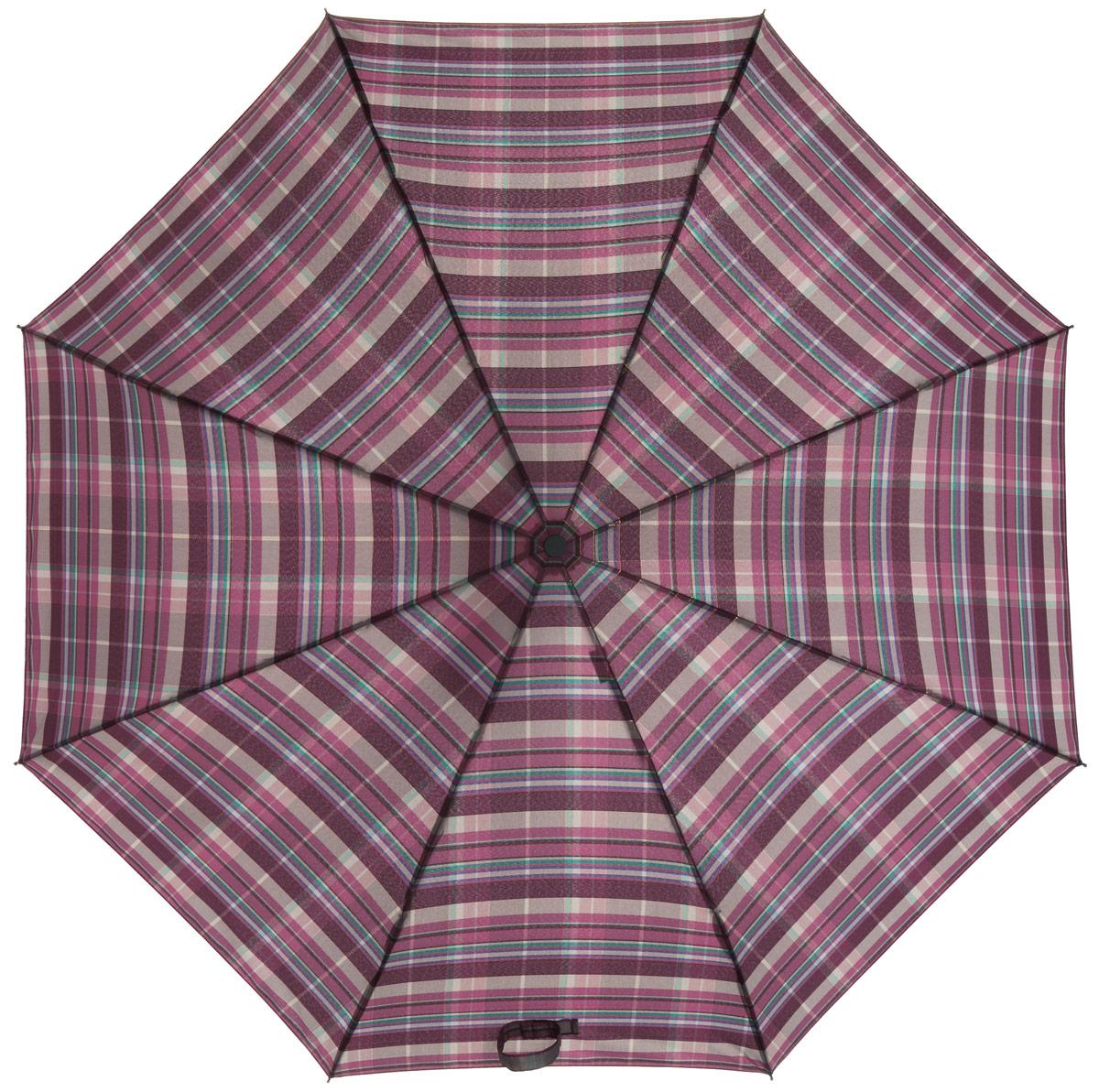 Зонт женский Labbra, автомат, 3 сложения, цвет: розовато-лиловый. A3-05-030A3-05-030Яркий зонт Labbra не оставит вас незамеченной. Зонт оформлен оригинальным клетчатым принтом. Зонт состоит из восьми спиц и стержня, изготовленных из стали и фибергласса. Зонт дополнен удобной ручкой из пластика. Купол выполнен из качественного полиэстера и эпонжа, которые не пропускают воду. Зонт имеет автоматический механизм сложения: купол открывается и закрывается нажатием кнопки на ручке, стержень складывается вручную до характерного щелчка, благодаря чему открыть и закрыть зонт можно одной рукой. Ручка дополнена петлей, благодаря которой зонт можно носить на запястье . К зонту прилагается чехол. Удобный и практичный аксессуар даже в ненастную погоду позволит вам оставаться стильной и элегантной.