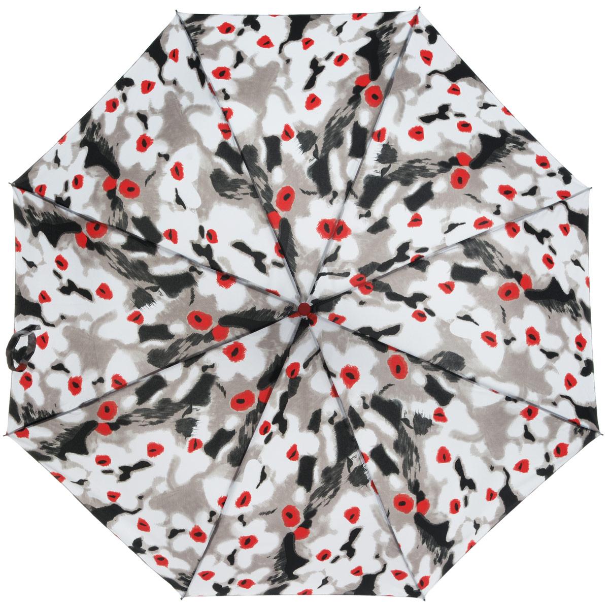 Зонт женский Labbra, автомат, 3 сложения, цвет: белый, черный . A3-05-012A3-05-012Яркий зонт Labbra не оставит вас незамеченной. Зонт оформлен оригинальным принтом. Зонт состоит из восьми спиц и стержня, изготовленных из стали и фибергласса. Купол выполнен из качественного полиэстера и эпонжа, которые не пропускают воду. Зонт дополнен удобной ручкой из пластика. Зонт имеет автоматический механизм сложения: купол открывается и закрывается нажатием кнопки на ручке, стержень складывается вручную до характерного щелчка, благодаря чему открыть и закрыть зонт можно одной рукой. Ручка дополнена петлей, благодаря которой зонт можно носить на запястье . К зонту прилагается чехол. Удобный и практичный аксессуар даже в ненастную погоду позволит вам оставаться стильной и элегантной.