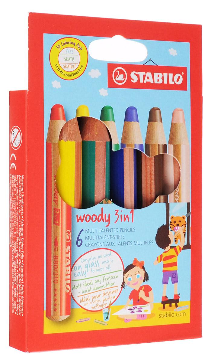 Stabilo Набор цветных карандашей Woody 3-в-1 6 цветов8806Супертолстый цветной карандаш, акварель и восковой мелок в одном. Это уникальные карандаши, сочетающие в себе возможности цветных карандашей, акварельных красок и восковых мелков. Пишут практически на всех гладких поверхностях, сключая сткло! Обеспечивают великолепный результат на темной бумаге благодаря исключительной яркости и интенсивности цвета. Великолепные акварельные качества. Очень прочный грифель диаметром 10 мм для мягких штрихов. Цвет корпуса карандаша соответсвует цвету грифеля. Набор из 6 карандашей.