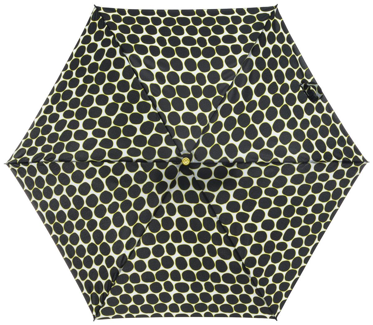 Зонт женский Labbra, автомат, 3 сложения, цвет: черный. A3-05-LR025A3-05-LR025Яркий зонт Labbra не оставит вас незамеченной. Зонт оформлен оригинальным принтом. Зонт состоит из шести спиц и стержня, изготовленных из стали, алюминия и фибергласса. Купол выполнен из качественного полиэстера и эпонжа, которые не пропускают воду. Зонт дополнен удобной ручкой из пластика. Зонт имеет автоматический механизм сложения: купол открывается и закрывается нажатием кнопки на ручке, стержень складывается вручную до характерного щелчка, благодаря чему открыть и закрыть зонт можно одной рукой. Ручка дополнена петлей, благодаря которой зонт можно носить на запястье . К зонту прилагается чехол. Удобный и практичный аксессуар даже в ненастную погоду позволит вам оставаться стильной и элегантной.