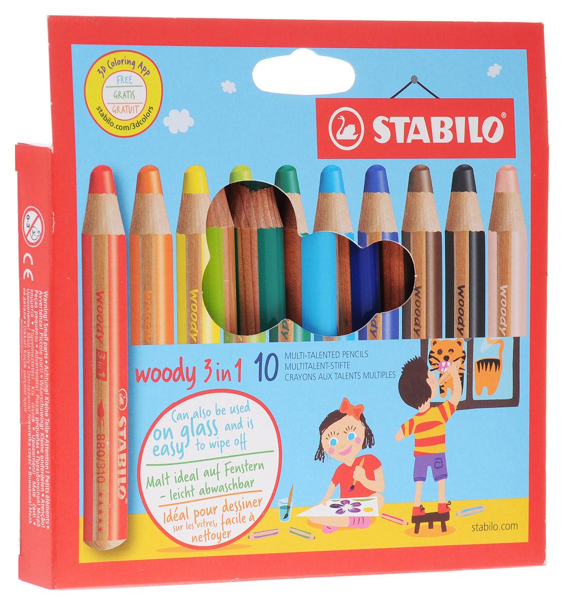 Stabilo Woody Набор цветных карандашей 3-в-1 10 цветов880/10Супертолстый цветной карандаш, акварель и восковой мелок в одном. Это уникальные карандаши, сочетающие в себе возможности цветных карандашей, акварельных красок и восковых мелков. Пишут практически на всех гладких поверхностях, включая стекло! Обеспечивают великолепный результат на темной бумаге благодаря исключительной яркости и интенсивности цвета. Великолепные акварельные качества. Очень прочный грифель диаметром 10 мм для мягких штрихов. Цвет корпуса карандаша соответствует цвету грифеля. Набор из 10 карандашей.