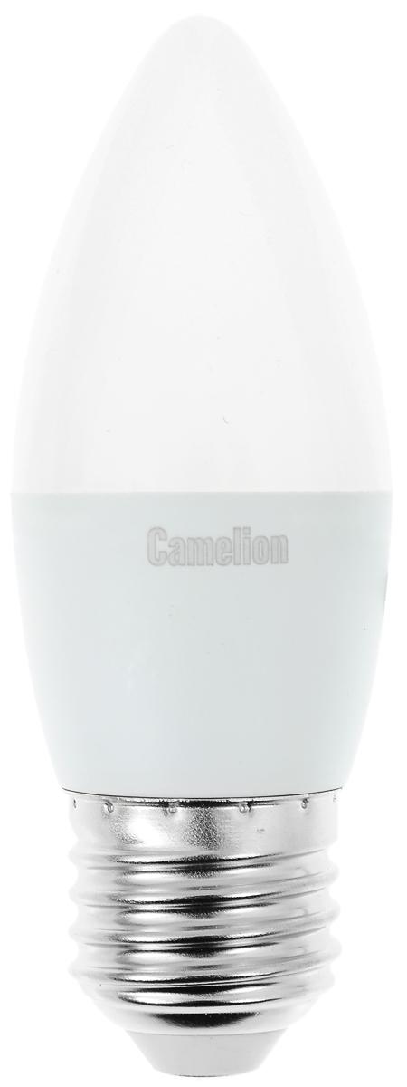 Лампа светодиодная Camelion, холодный свет, цоколь Е27, 7W. 1207812078Светодиодная лампа Camelion - это инновационное решение, разработанное на основе новейших светодиодных технологий (LED) для эффективной замены любых видов галогенных или обыкновенных ламп накаливания во всех типах осветительных приборов. Она хорошо подойдет для освещения квартир, гостиниц и ресторанов. Лампа не содержит ртути и других вредных веществ, экологически безопасна и не требует утилизации, не выделяет при работе ультрафиолетовое и инфракрасное излучение. Напряжение: 220-240 В / 50 Гц. Индекс цветопередачи (Ra): 77+. Угол светового пучка: 220°. Использовать при температуре: от -30° до +40°.
