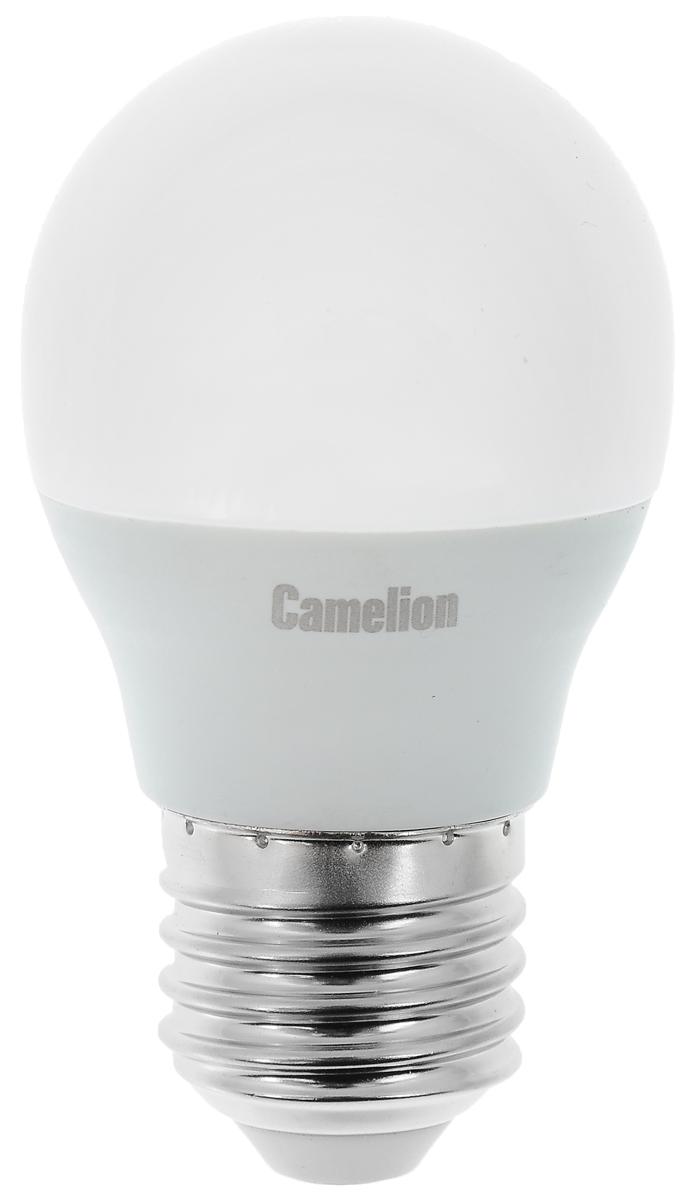 Лампа светодиодная Camelion, теплый свет, цоколь Е27, 7W. 1207012070Светодиодная лампа Camelion - это инновационное решение, разработанное на основе новейших светодиодных технологий (LED) для эффективной замены любых видов галогенных или обыкновенных ламп накаливания во всех типах осветительных приборов. Она хорошо подойдет для освещения квартир, гостиниц и ресторанов. Лампа не содержит ртути и других вредных веществ, экологически безопасна и не требует утилизации, не выделяет при работе ультрафиолетовое и инфракрасное излучение. Напряжение: 220-240 В / 50 Гц. Индекс цветопередачи (Ra): 77+. Угол светового пучка: 220°. Использовать при температуре: от -30° до +40°.