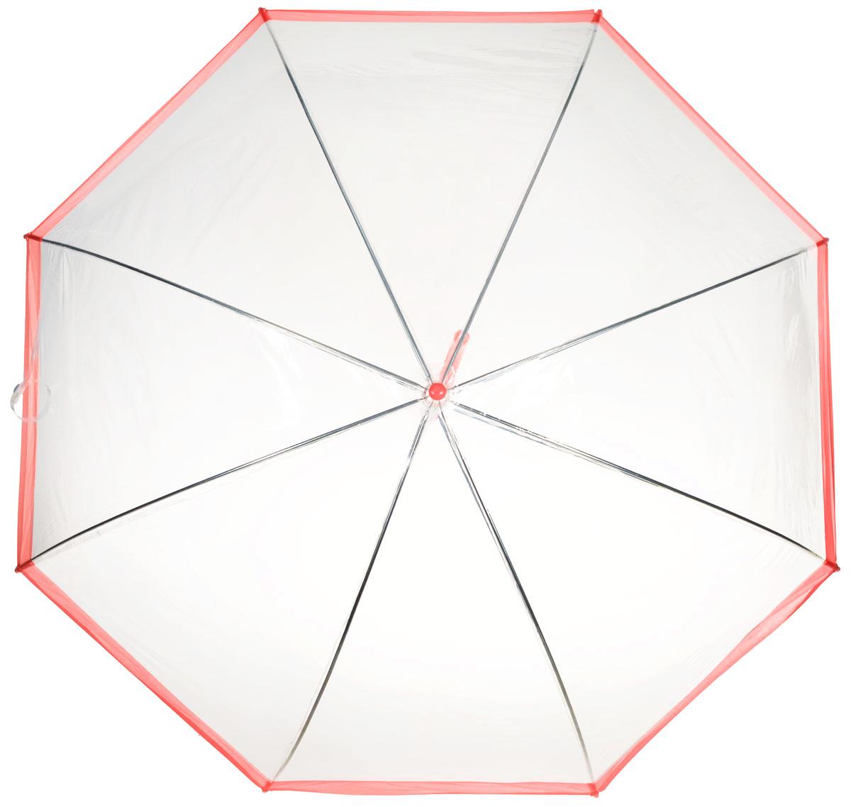 Зонт-трость женский Эврика, механика, цвет: прозрачный, красный. 9429194291Оригинальный и элегантный женский зонт-трость Эврика порадует своим оформлением даже в ненастную погоду. Зонт состоит из восьми спиц и стержня выполненных из качественного металла. Купол выполнен из качественного ПВХ, который не пропускает воду. Зонт дополнен удобной пластиковой ручкой в виде крючка. Изделие имеет механический способ сложения: и купол, и стержень открываются и закрываются вручную до характерного щелчка. Зонт закрывается хлястиком на кнопку. Зонт имеет прозрачную текстуру, что позволяет видеть обстановку вокруг себя. Такой зонт не оставит вас незамеченной.