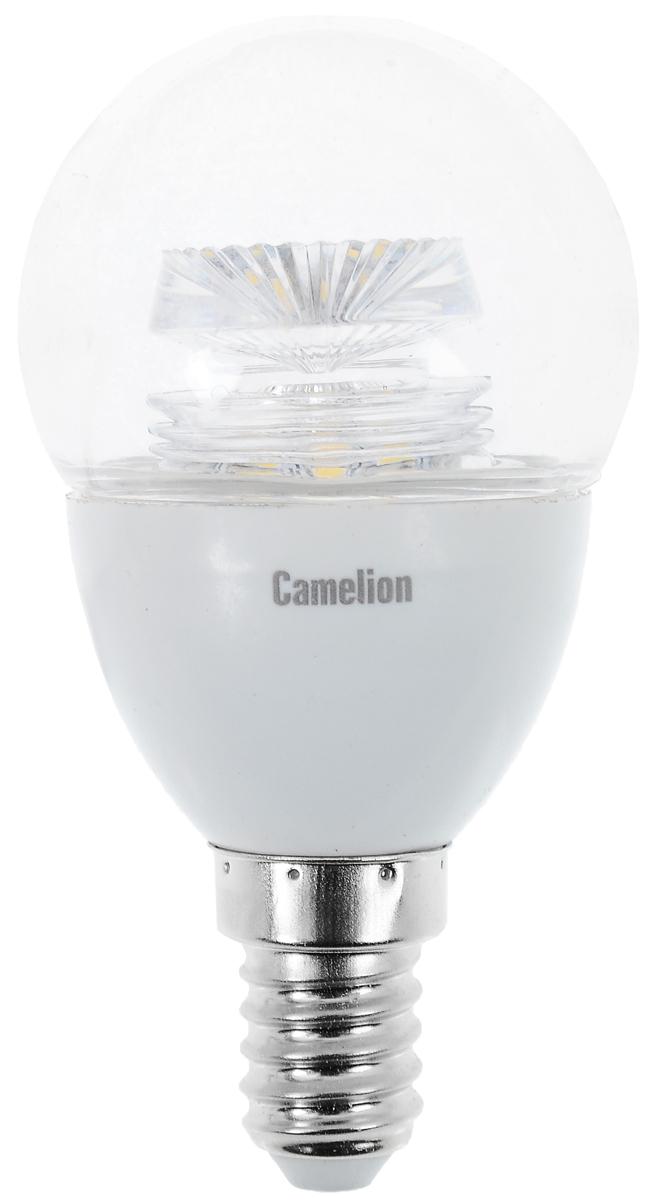 Лампа светодиодная Camelion, холодный свет, цоколь Е14, 5,5W . 1185411854Светодиодная лампа Camelion - это инновационное решение, разработанное на основе новейших светодиодных технологий (LED) для эффективной замены любых видов галогенных или обыкновенных ламп накаливания во всех типах осветительных приборов. Она хорошо подойдет для освещения квартир, гостиниц и ресторанов. Лампа не содержит ртути и других вредных веществ, экологически безопасна и не требует утилизации, не выделяет при работе ультрафиолетовое и инфракрасное излучение. Напряжение: 220-240 В / 50 Гц. Индекс цветопередачи (Ra): 82+. Угол светового пучка: 240°. Использовать при температуре: от -30° до +40°.