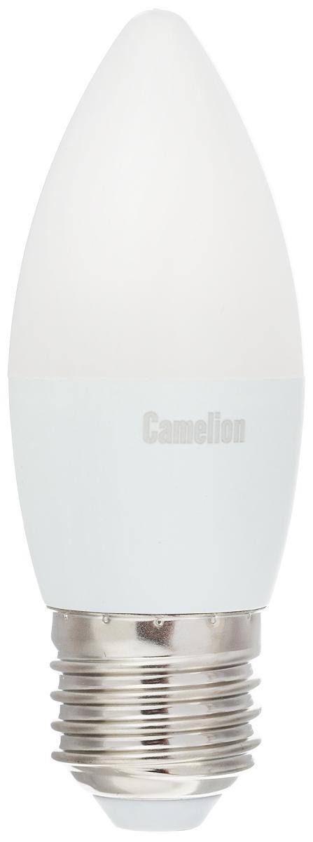 Лампа светодиодная Camelion, теплый свет, цоколь Е27, 7W. 1207712077Светодиодная лампа Camelion - это инновационное решение, разработанное на основе новейших светодиодных технологий (LED) для эффективной замены любых видов галогенных или обыкновенных ламп накаливания во всех типах осветительных приборов. Она хорошо подойдет для освещения квартир, гостиниц и ресторанов. Лампа не содержит ртути и других вредных веществ, экологически безопасна и не требует утилизации, не выделяет при работе ультрафиолетовое и инфракрасное излучение. Напряжение: 220-240 В / 50 Гц. Индекс цветопередачи (Ra): 77+. Угол светового пучка: 220°. Использовать при температуре: от -30° до +40°.