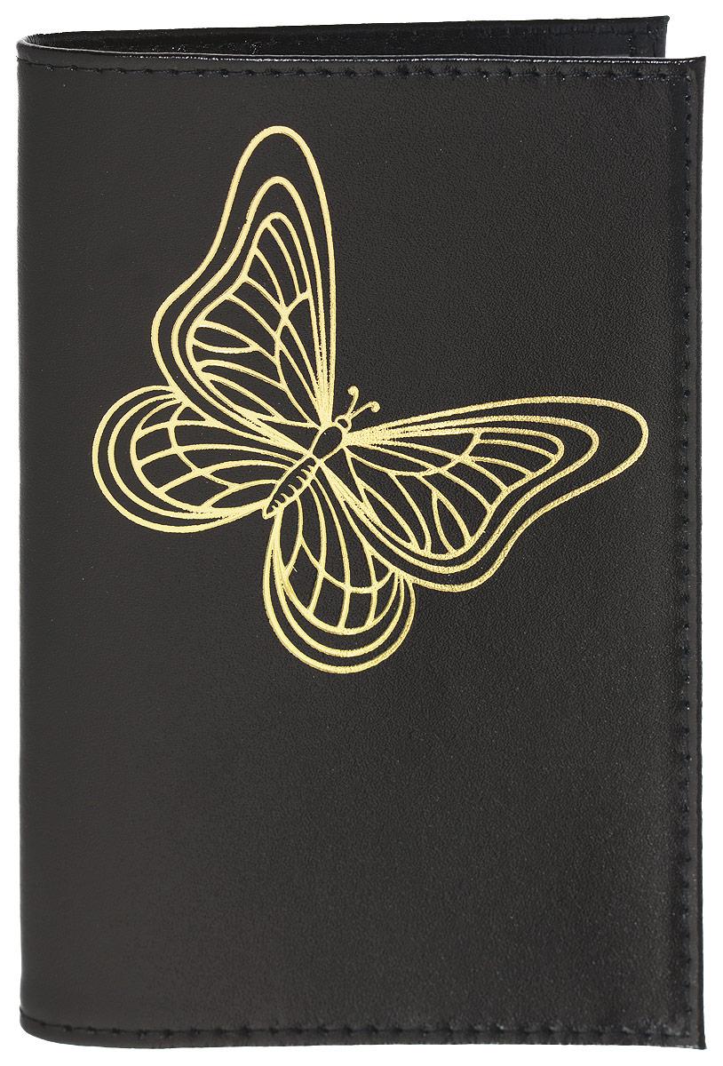 Обложка для паспорта женская Mitya Veselkov, цвет: черный. SPEKTR-BUTTERFLY-BLACKSPEKTR-BUTTERFLY-BLACKОригинальная обложка для паспорта Mitya Veselkov изготовлена из натуральной гладкой кожи. Изделие раскрывается пополам. Документ надежно фиксируется внутри при помощи двух прозрачных клапанов, расположенных на внутреннем развороте обложки. Обложка оформлена рисунком с изображением бабочки и дополнена двумя внутренними прорезными карманами для кредиток и карт. Обложка не только поможет сохранить внешний вид документов, но и станет стильным аксессуаром, который подчеркнет ваш образ. Обложка для паспорта может стать отличным подарком.