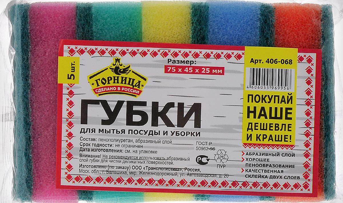 Губка для мытья посуды Горница, с абразивным слоем, 7,5 х 4,5 см, 5 шт406-068Губки Горница, выполненные из пенополиуретана, предназначены для мытья посуды и уборки. Абразивный материал прочный, не загрязняется в процессе использования, отлично вымывается водой, содержит максимальное количество активных микрокристаллов, обеспечивающих чистоту поверхности. В комплекте 5 губок разного цвета. Размер губки: 7,5 х 4,5 х 2,5 см.