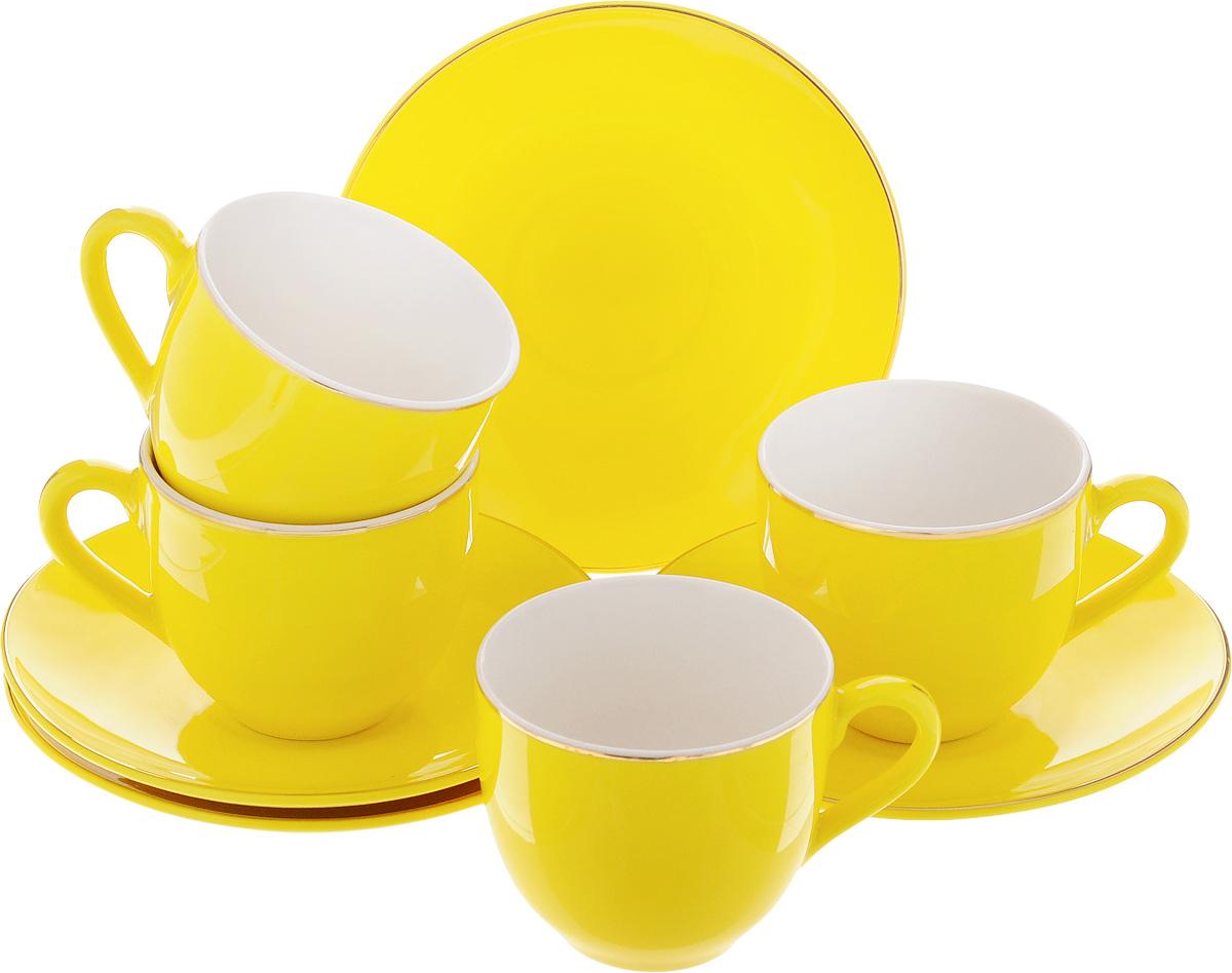 Набор кофейный Loraine, цвет: желтый, 8 предметов. 2475124751Кофейный набор Loraine состоит из 4 чашек и 4 блюдец. Изделия выполнены из высококачественного фарфора, имеют яркий дизайн и классическую круглую форму. Такой набор прекрасно подойдет как для повседневного использования, так и для праздников. Набор Loraine - это не только яркий и полезный подарок для родных и близких, но и великолепное дизайнерское решение для вашей кухни или столовой. Диаметр чашки (по верхнему краю): 6 см. Высота чашки: 5,5 см. Диаметр блюдца (по верхнему краю): 11 см. Высота блюдца: 1,7 см. Объем чашки: 80 мл.