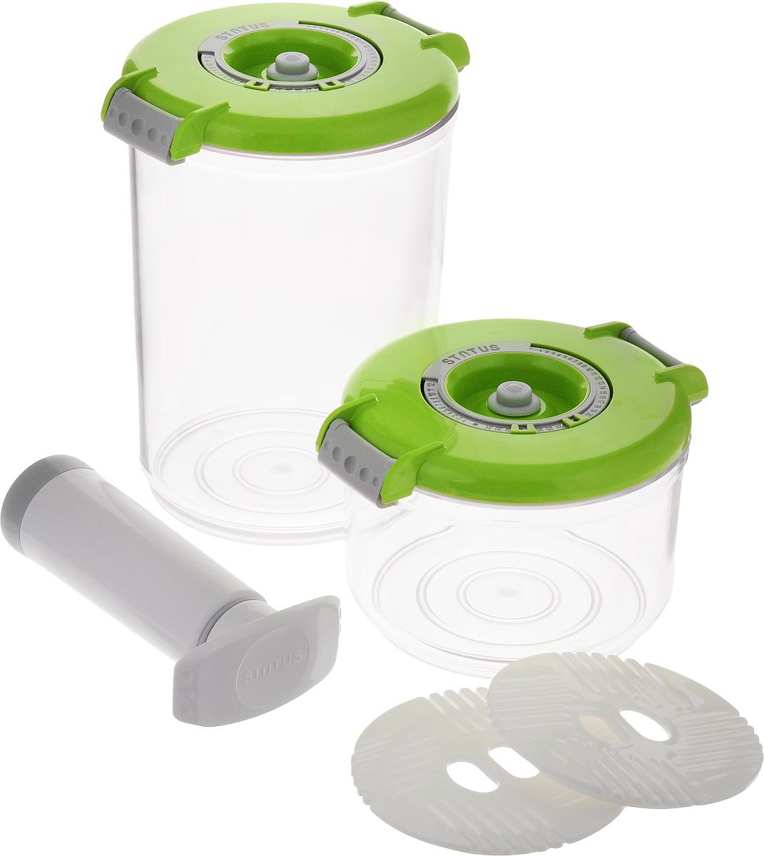 Набор вакуумных контейнеров Status, цвет: прозрачный, зеленый, 2 шт + ПОДАРОК: Вакуумный ручной насосVAC-RD-Round GreenПромо набор вакуумных контейнеров с подарком Комплектация: контейнеры 0,75 л, 1,5 л, два поддона + ручной насос в подарок. Благодаря использованию вакуумных контейнеров, продукты не подвергаются внешнему воздействию, и срок хранения значительно увеличивается. Продукты сохраняют свои вкусовые качества и аромат, а запахи в холодильнике не перемешиваются. Контейнеры для хранения продуктов в вакууме Прочный хрустально-прозрачный тритан Круглая форма контейнеров Индикатор даты (месяц, число) BPA-Free Сделано в Словении Допускается замораживание (до -21 °C), мойка контейнера в ПММ, разогрев в СВЧ (без крышки). Рекомендовано хранение следующих продуктов: сахар, кофе в зёрнах, чай, мука, крупы, соусы, супы.