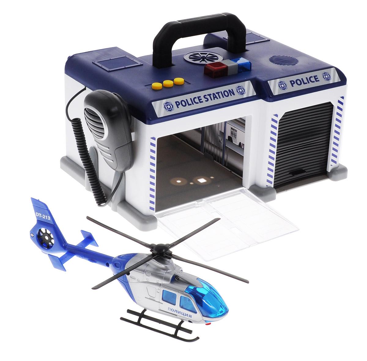 Dickie Toys Игровой набор Полицейская станция3716004_полицияИгровой набор Dickie Toys Полицейская станция  - это увлекательный набор, который непременно понравится вашему ребенку. Станция с парковкой со звуковыми и световыми эффектами выполнена в виде сундучка синего и серого цветов. Станция имеет два отделения, оборудованные открывающимися дверями. В набор входят полицейский вертолет и легковой автомобиль ДПС. На крыше станции имеются три кнопочки, при нажатии на которые срабатывает сирена, и включаются световые эффекты. Здание станции сверху оборудовано удобной ручкой, благодаря чему, набор легко взять с собой на прогулку или в поездку. Ваш ребенок с удовольствием будет играть с набором, придумывая новые захватывающие истории. Для работы требуются 3 батарейки АА (товар комплектуется демонстрационными).