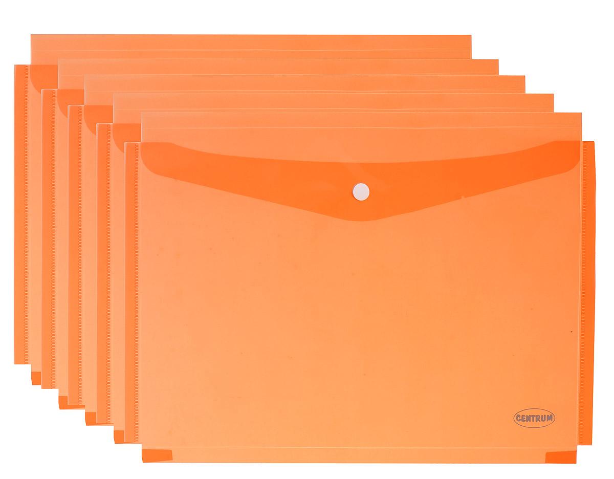 Centrum Папка-конверт на кнопке цвет оранжевый 5 шт80047_оранжевыйПапка-конверт на кнопке Centrum - это удобный и функциональный офисный инструмент, предназначенный для хранения и транспортировки рабочих бумаг и документов формата А4. Папка изготовлена из полупрозрачного пластика, закрывается клапаном на кнопке. Вместимость папки - 250 листов. В комплект входят 5 папок бирюзового цвета формата A4. Папка-конверт - это незаменимый атрибут для студента, школьника, офисного работника. Она надежно сохранит ваши документы и сбережет их от повреждений, пыли и влаги.
